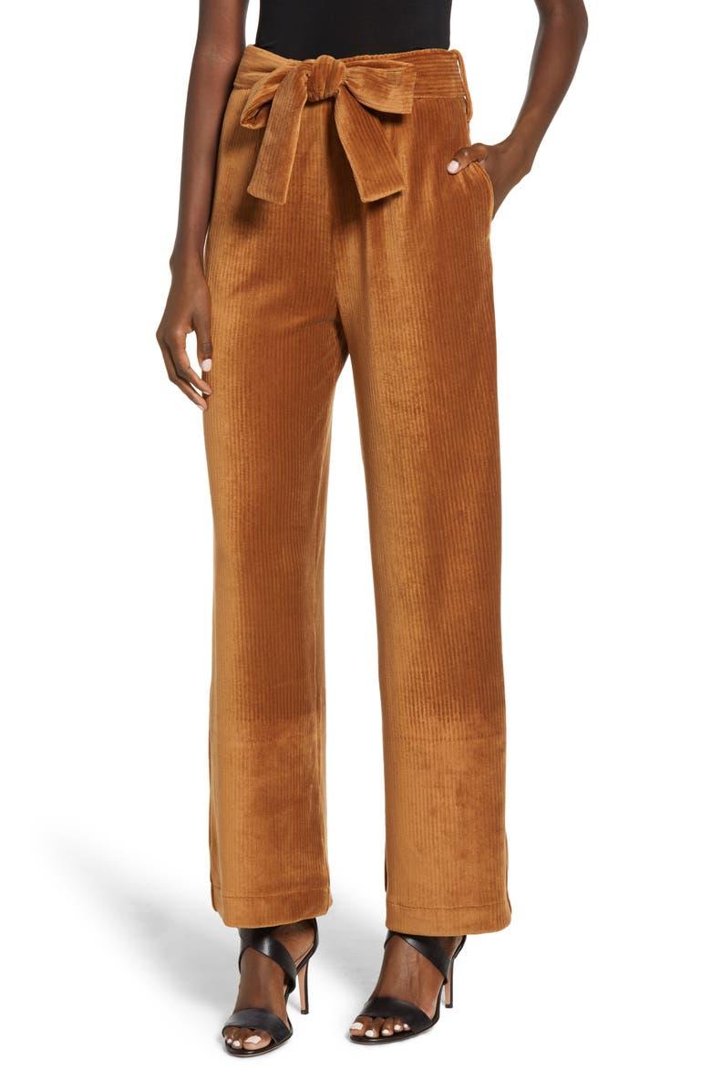 Velour Tie Waist Pants,                         Main,                         color, CARAMEL