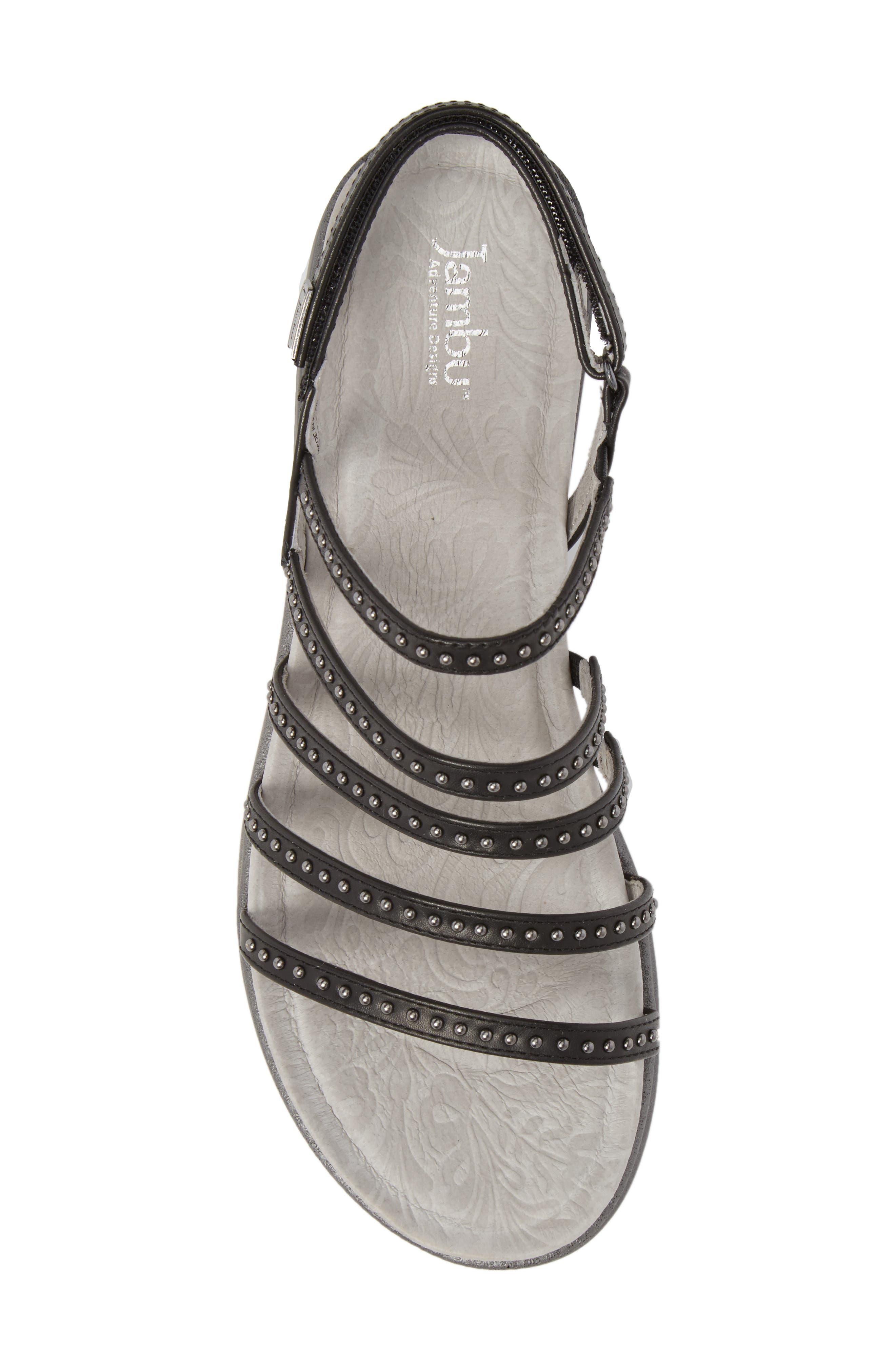 Elegance Studded Strappy Sandal,                             Alternate thumbnail 5, color,                             BLACK LEATHER
