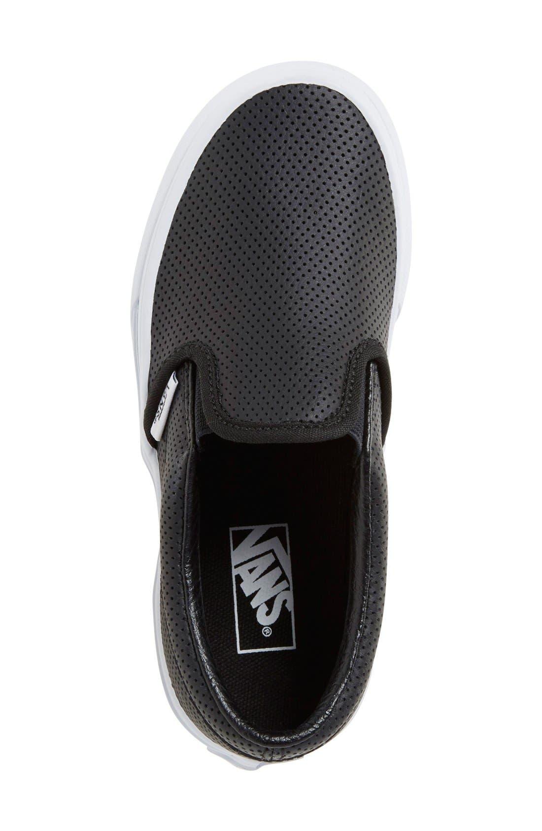 'Classic' Slip-On Sneaker,                             Alternate thumbnail 3, color,                             BLACK LEATHER