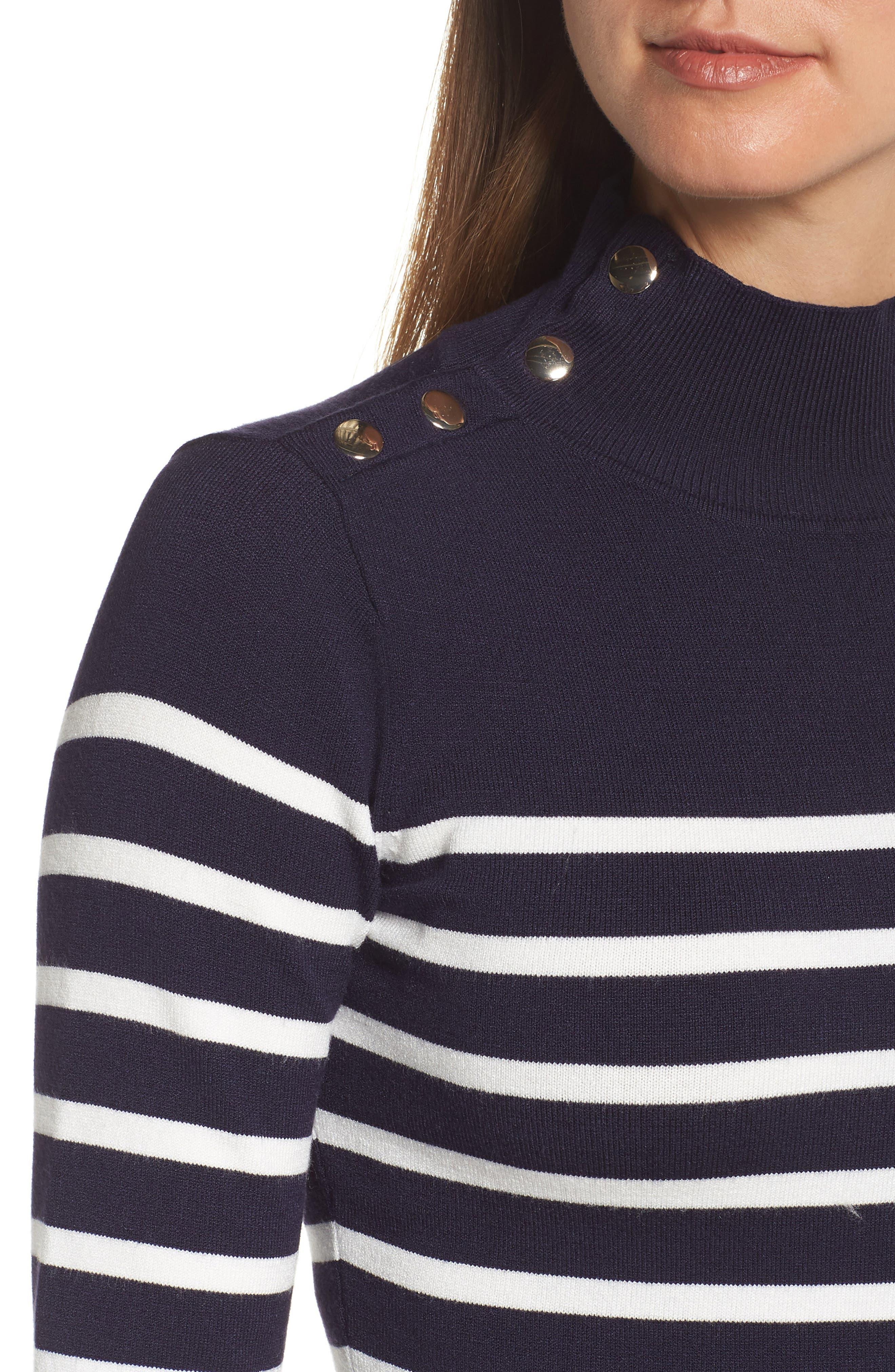 Stripe Mock Neck Fit & Flare Dress,                             Alternate thumbnail 4, color,                             NAVY