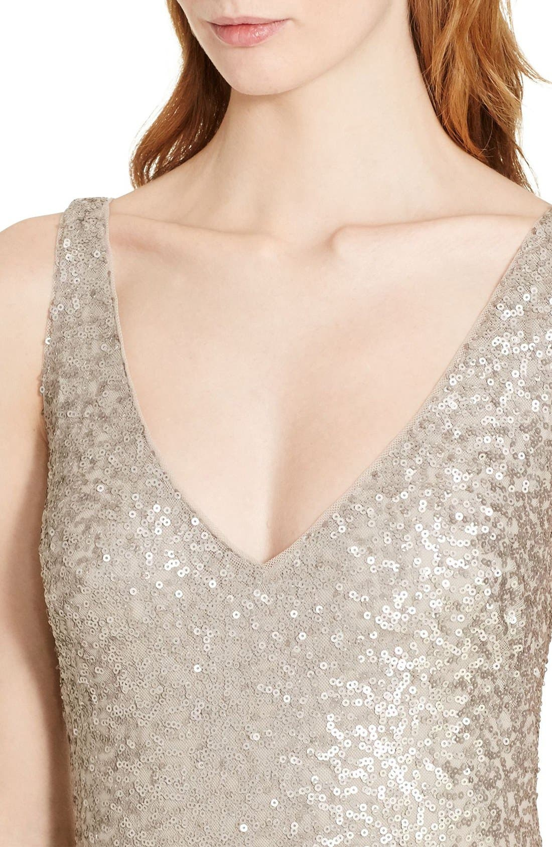 Sequin Mesh Gown,                             Alternate thumbnail 3, color,                             040