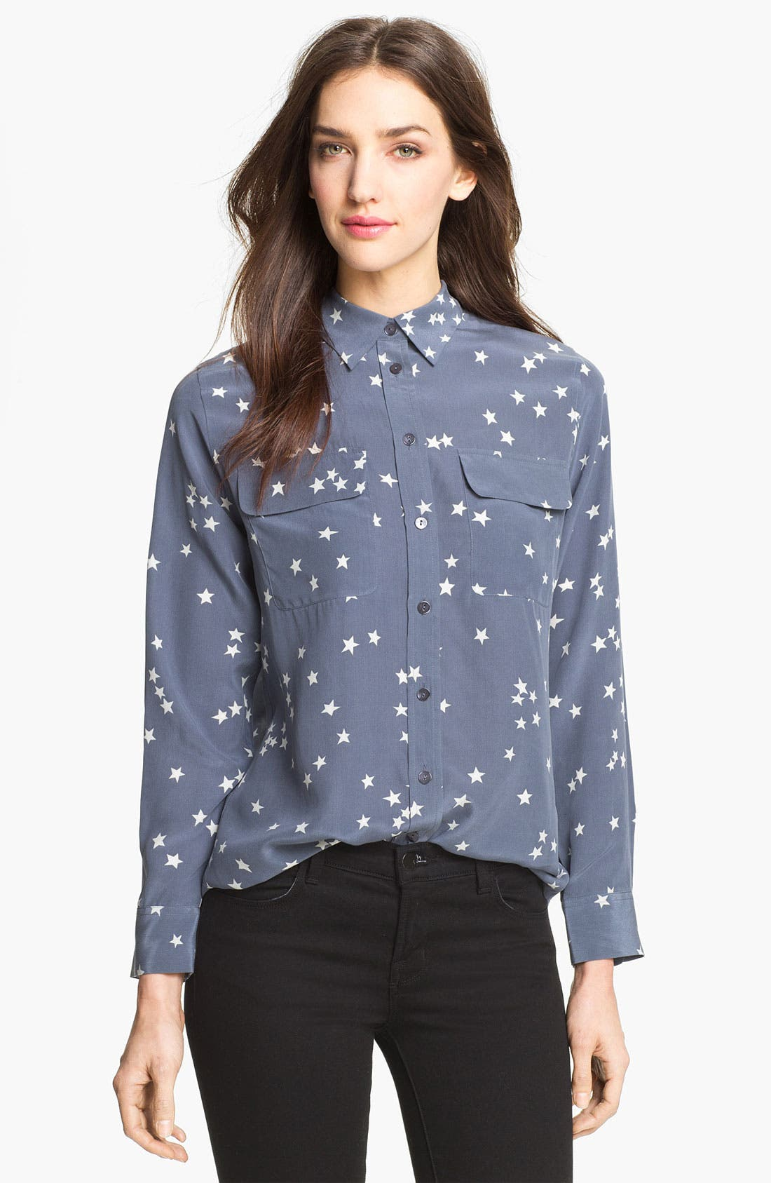 'Starry Night' Silk Shirt,                         Main,                         color, BLUESTONE