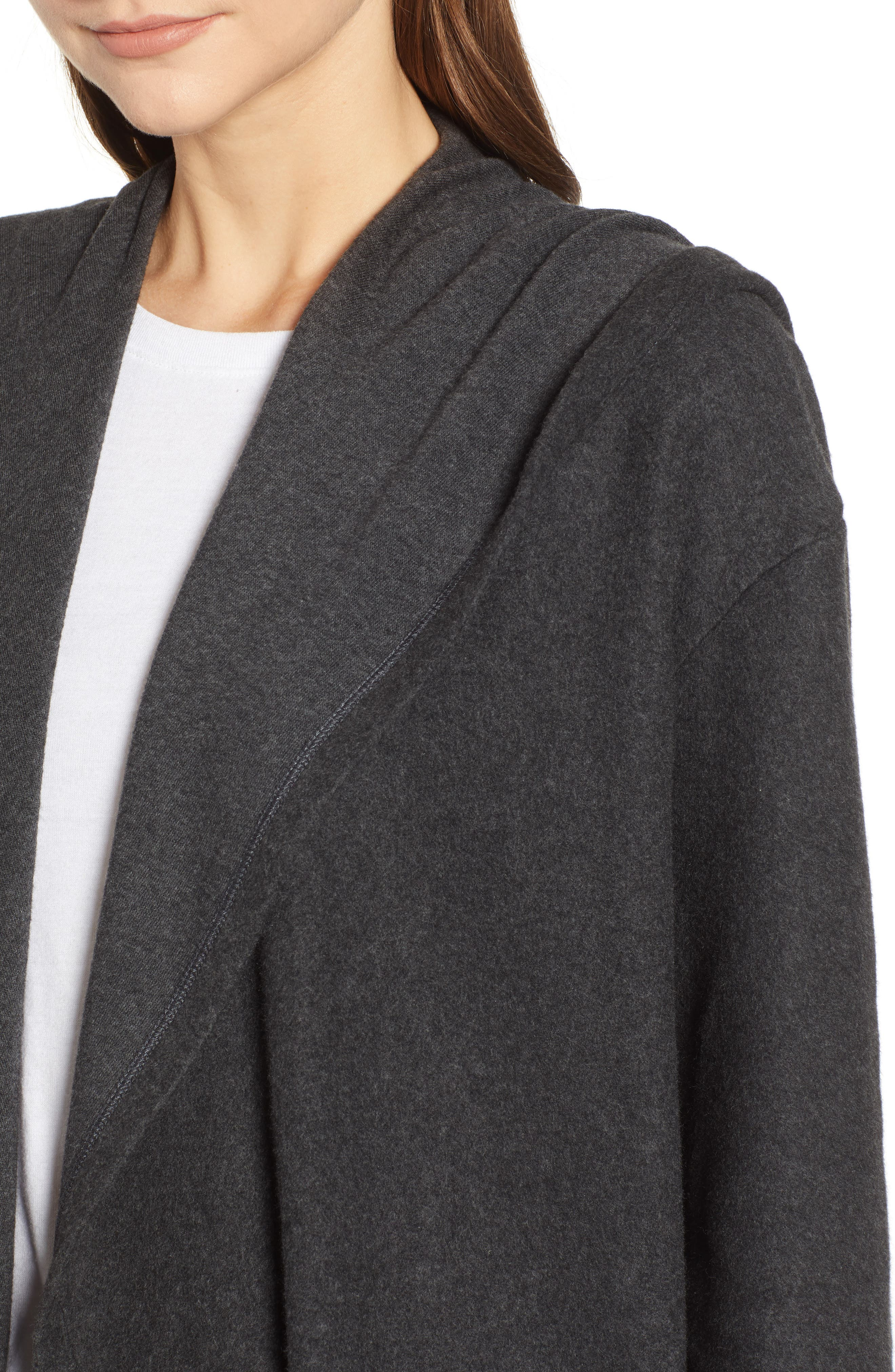 Hooded Open Front Cardigan,                             Alternate thumbnail 4, color,                             GREY DARK CHARCOAL HEATHER