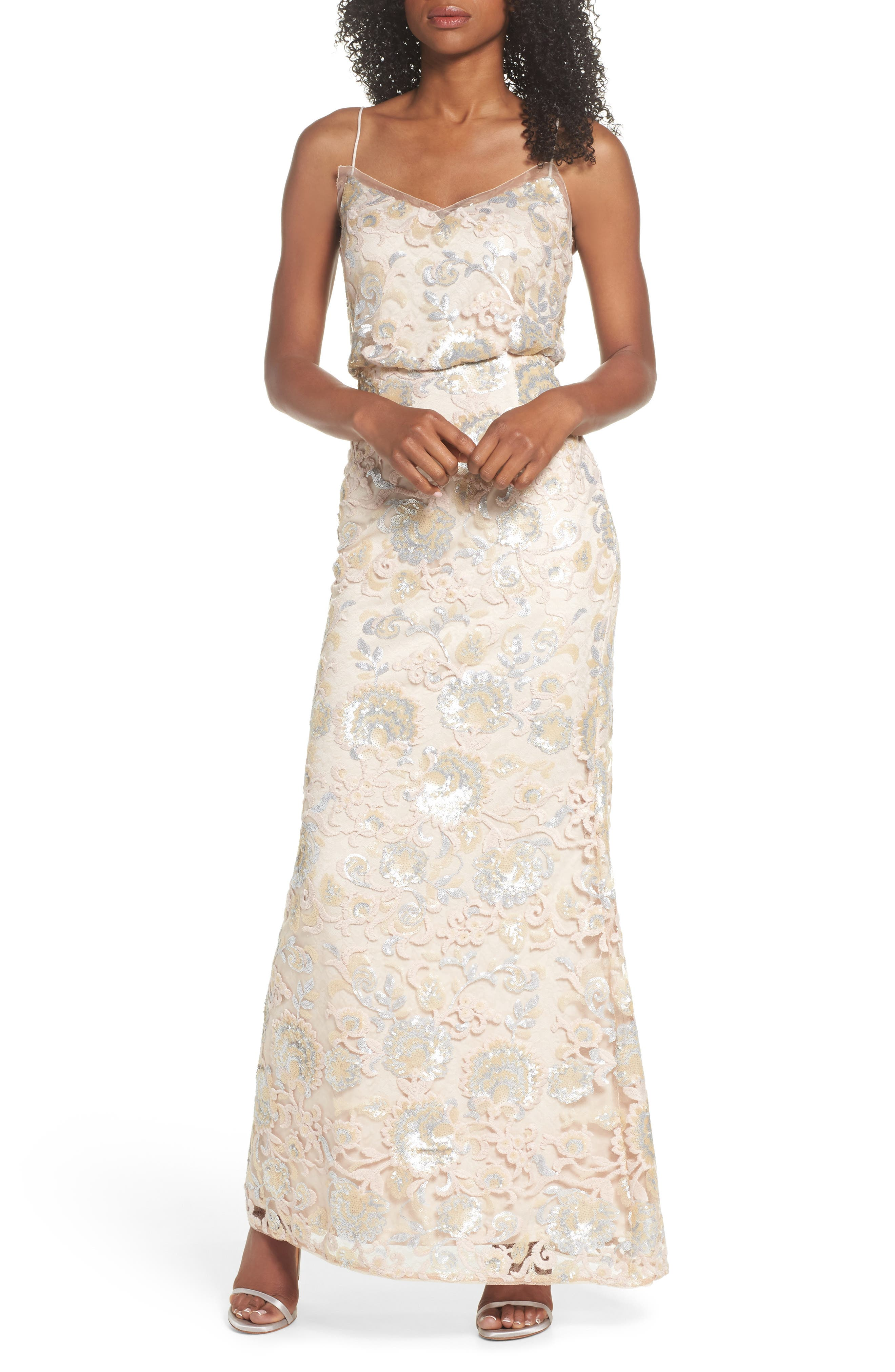 Sequin Embellished Blouson Gown,                         Main,                         color,