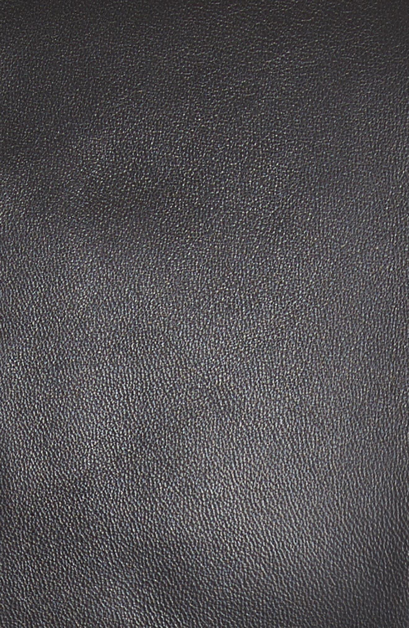 Plongé Leather Jacket,                             Alternate thumbnail 6, color,                             BLACK