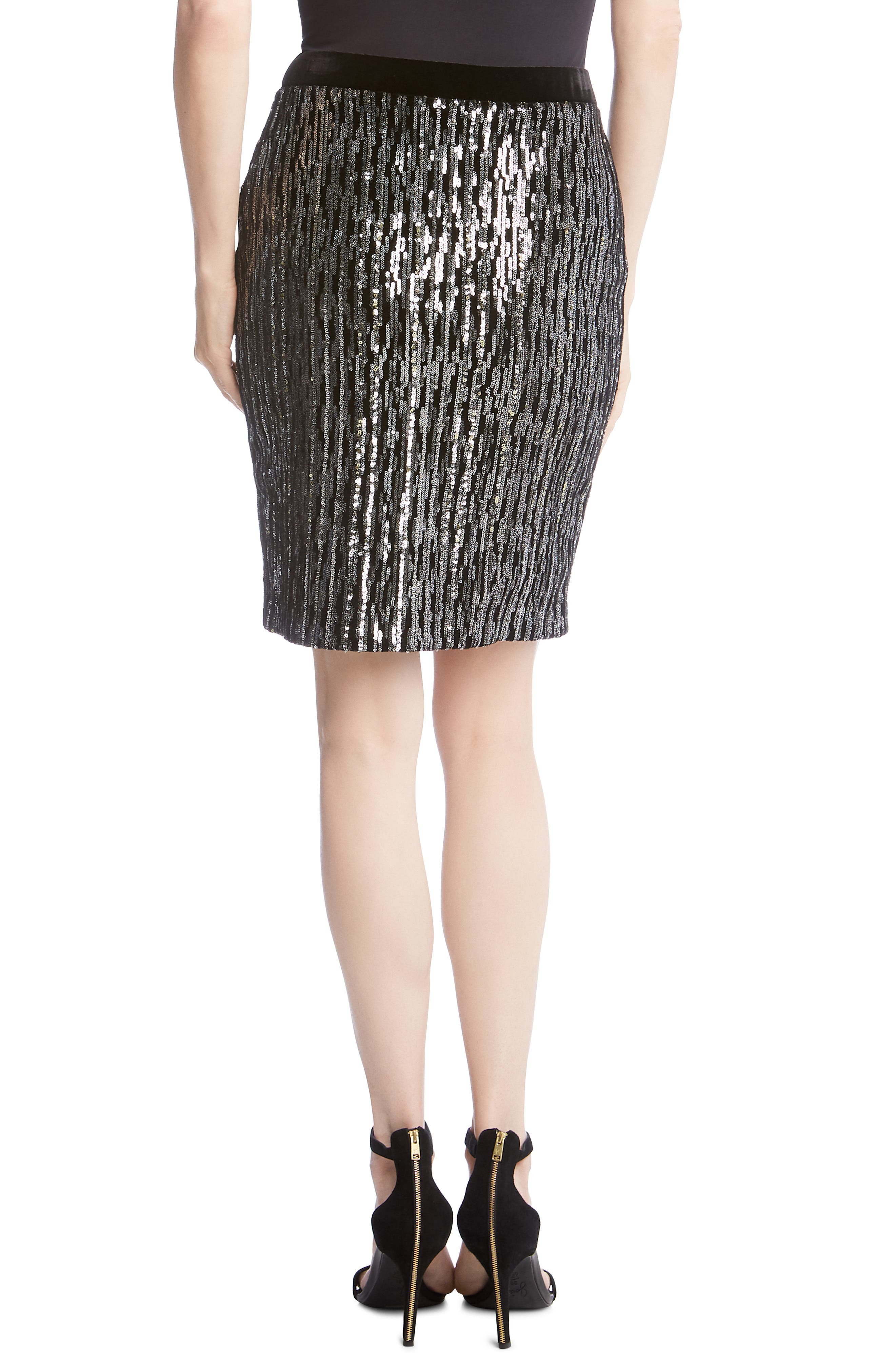 Sequin Pencil Skirt,                             Alternate thumbnail 2, color,                             BLACK WITH SILVER