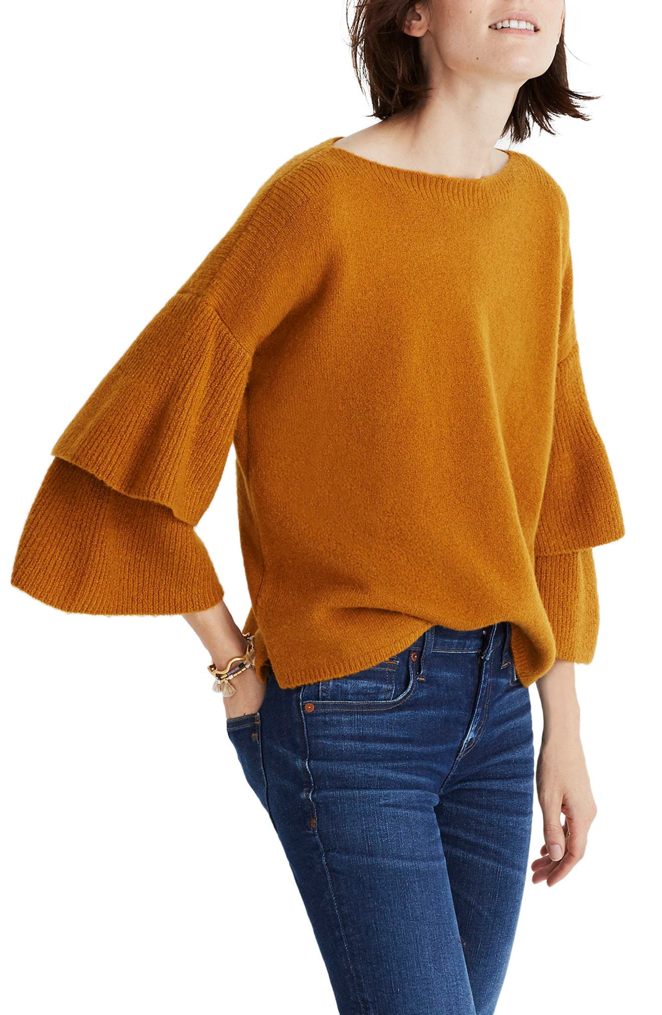 Tier Sleeve Sweater,                             Alternate thumbnail 6, color,