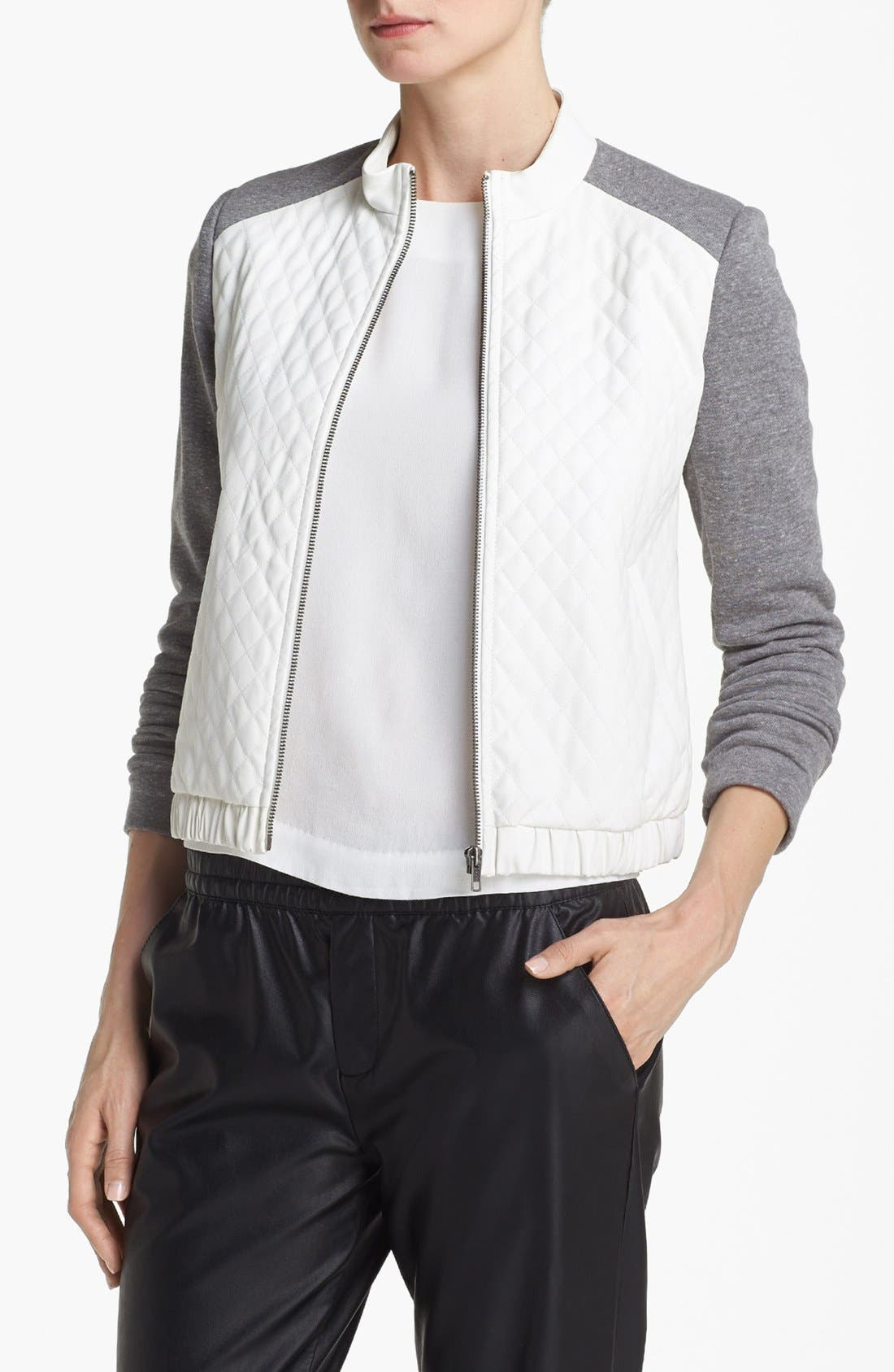 Quilted Bomber Jacket,                             Main thumbnail 1, color,                             100