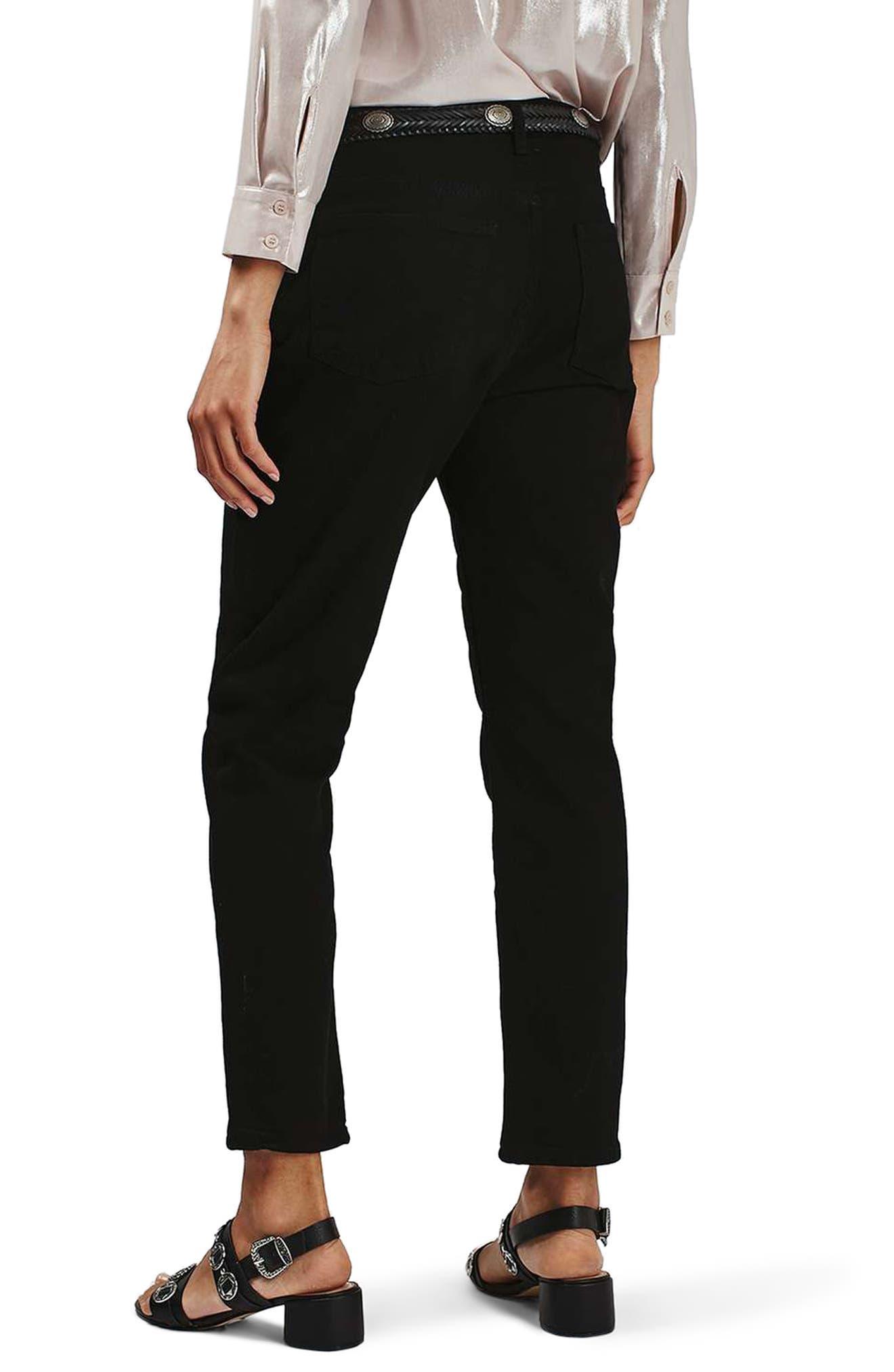 High Rise Straight Leg Crop Jeans,                             Alternate thumbnail 2, color,                             001
