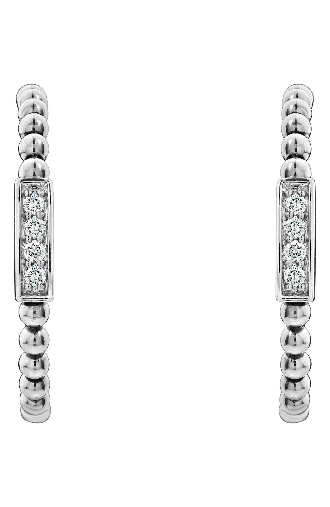 Caviar Spark Diamond Hoop Earrings,                             Alternate thumbnail 5, color,                             SILVER/ DIAMOND