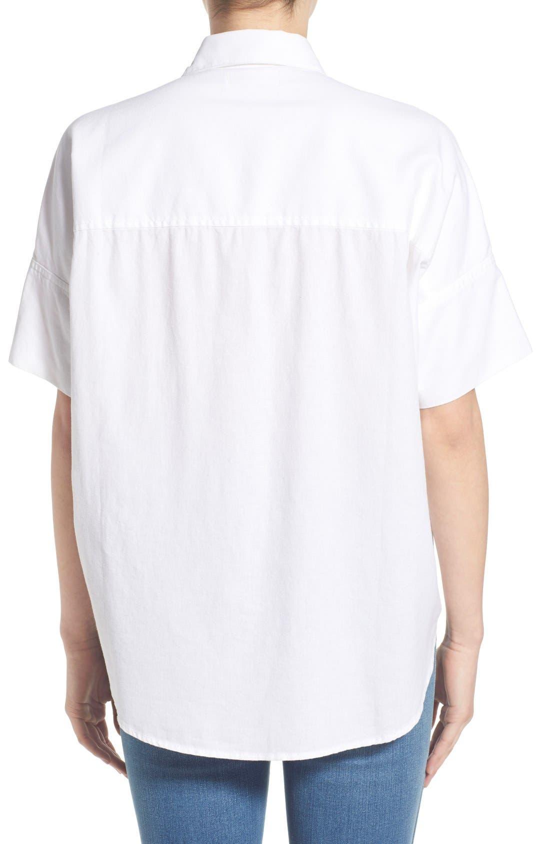 Cotton Courier Shirt,                             Alternate thumbnail 9, color,                             PURE WHITE
