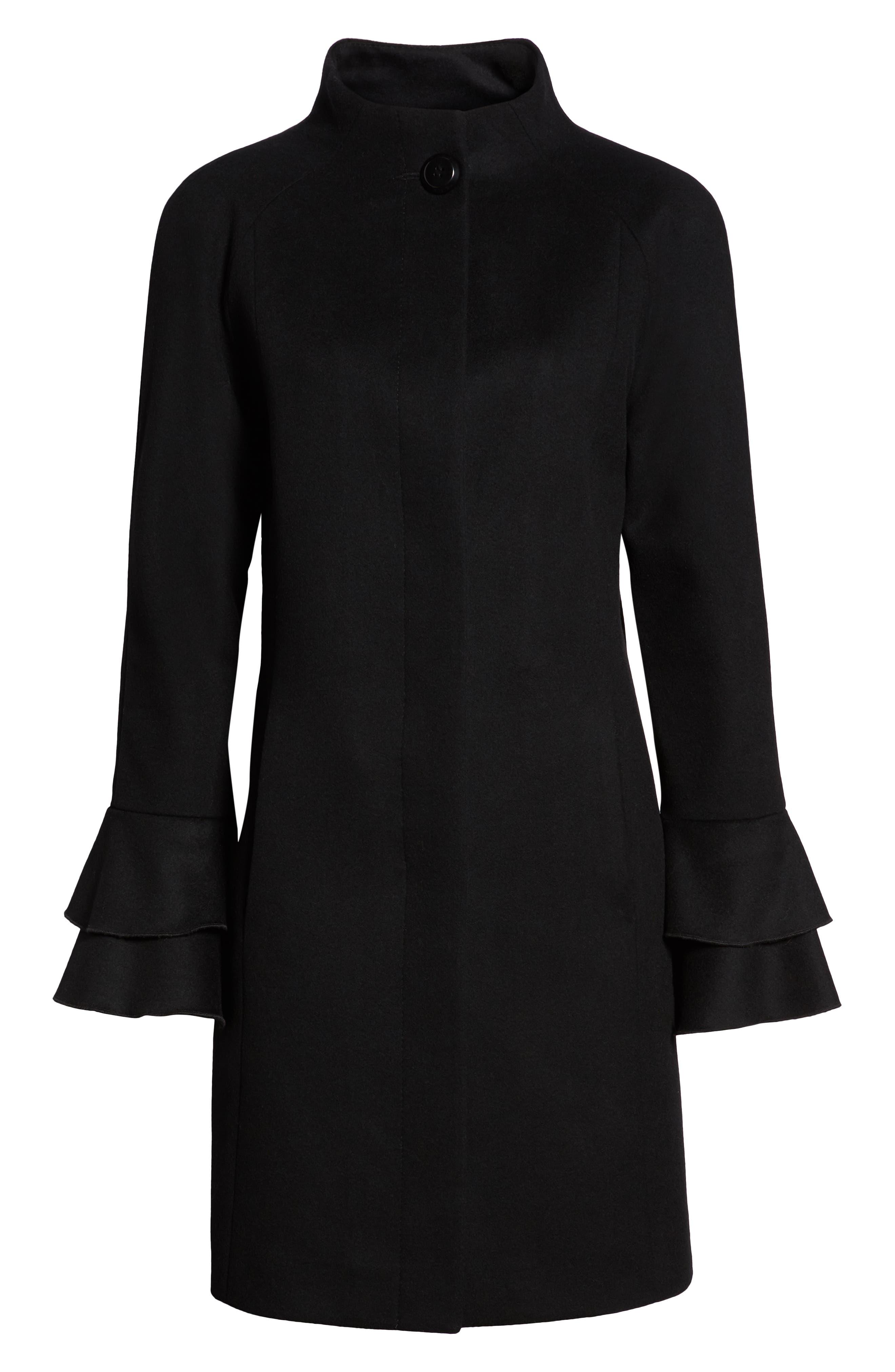 Sara Ruffle Cuff Wool Blend Coat,                             Alternate thumbnail 6, color,                             BLACK
