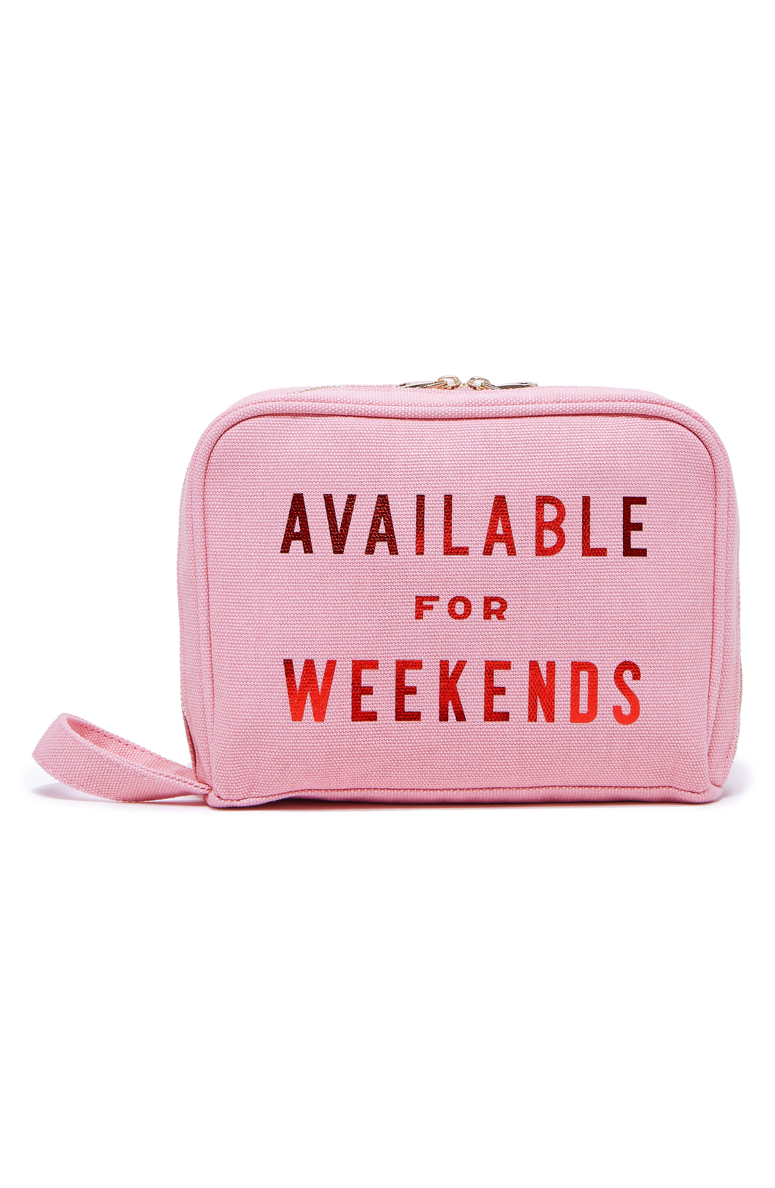 Available For Weekends Cosmetics Case,                             Main thumbnail 1, color,                             650