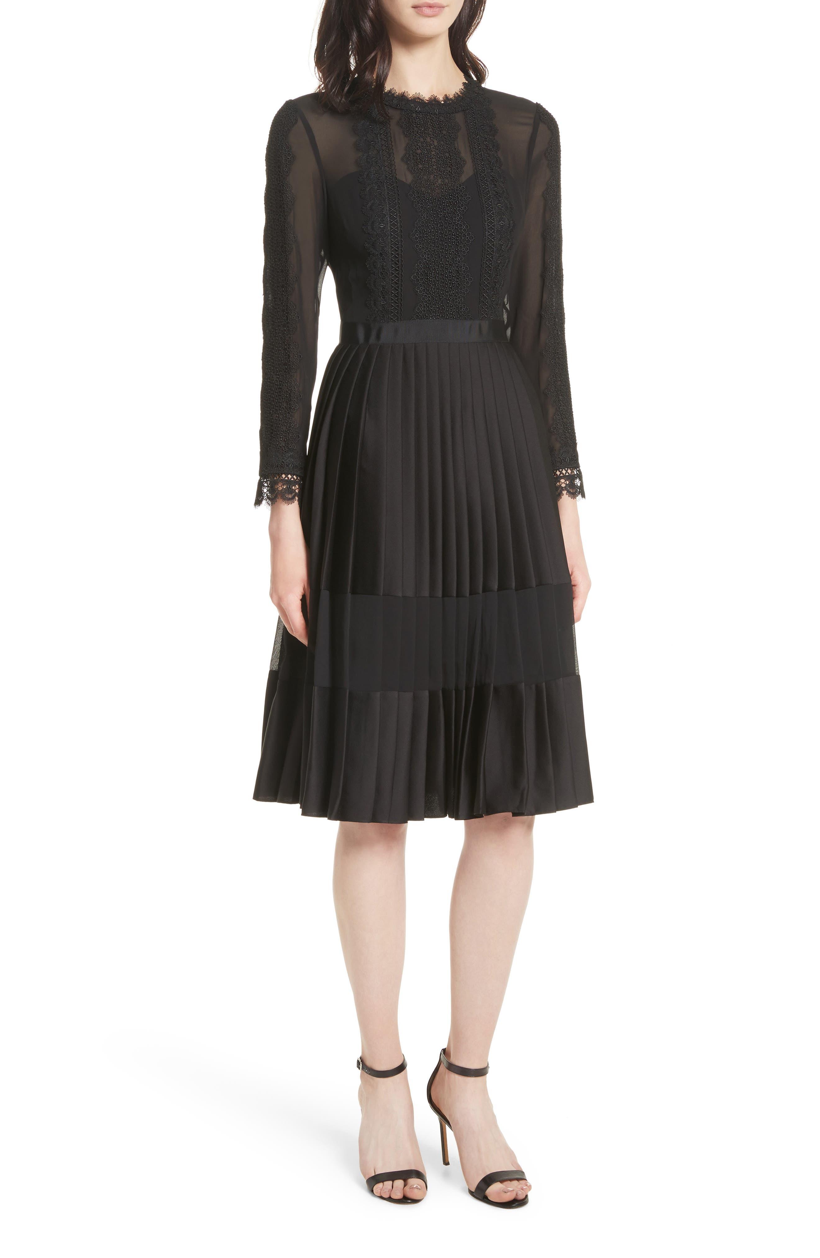 Lace Trim Pleated Midi Dress,                             Main thumbnail 1, color,                             001