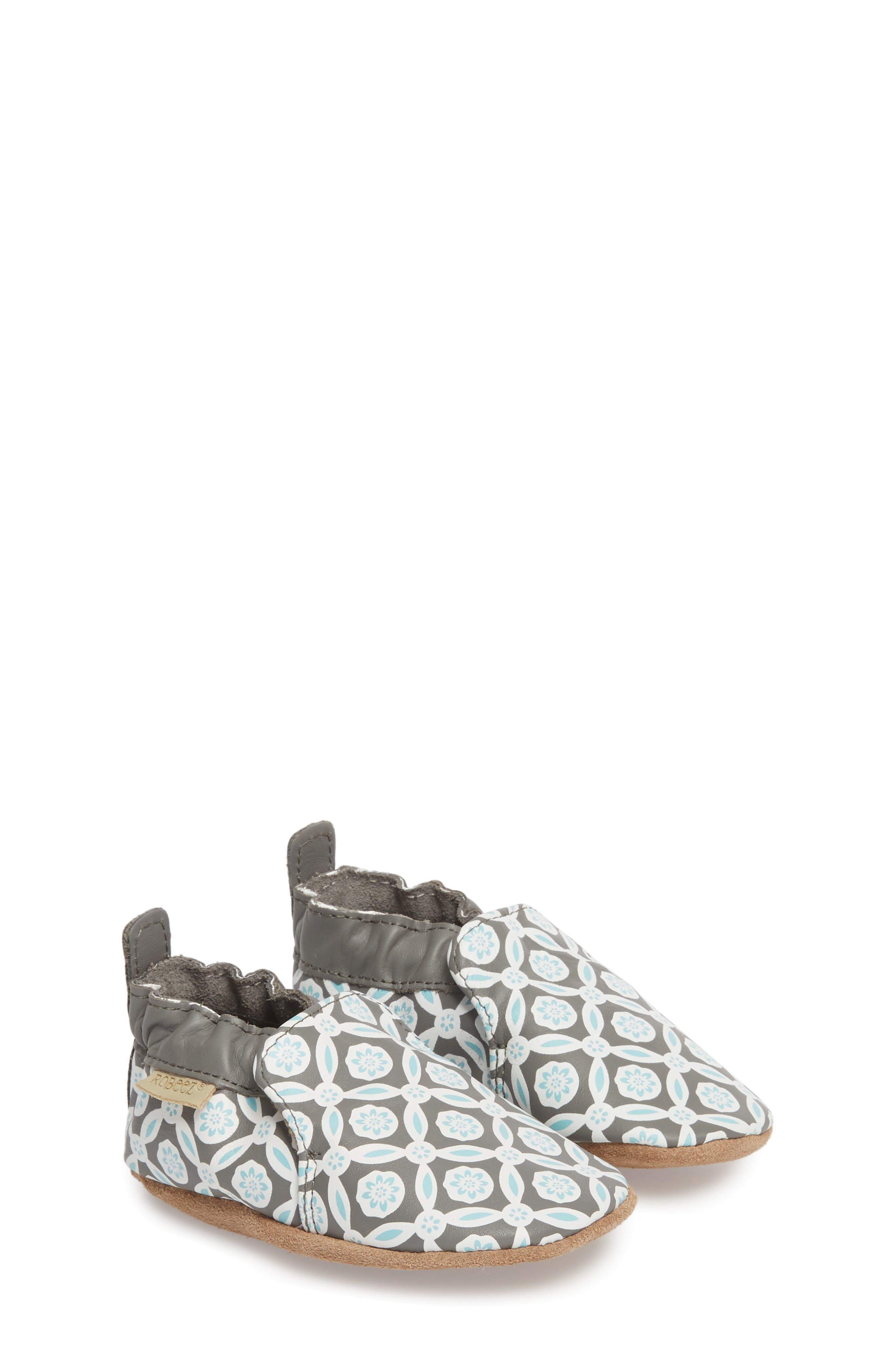 Khloe Moccasin Crib Shoe,                             Main thumbnail 1, color,                             CHARCOAL