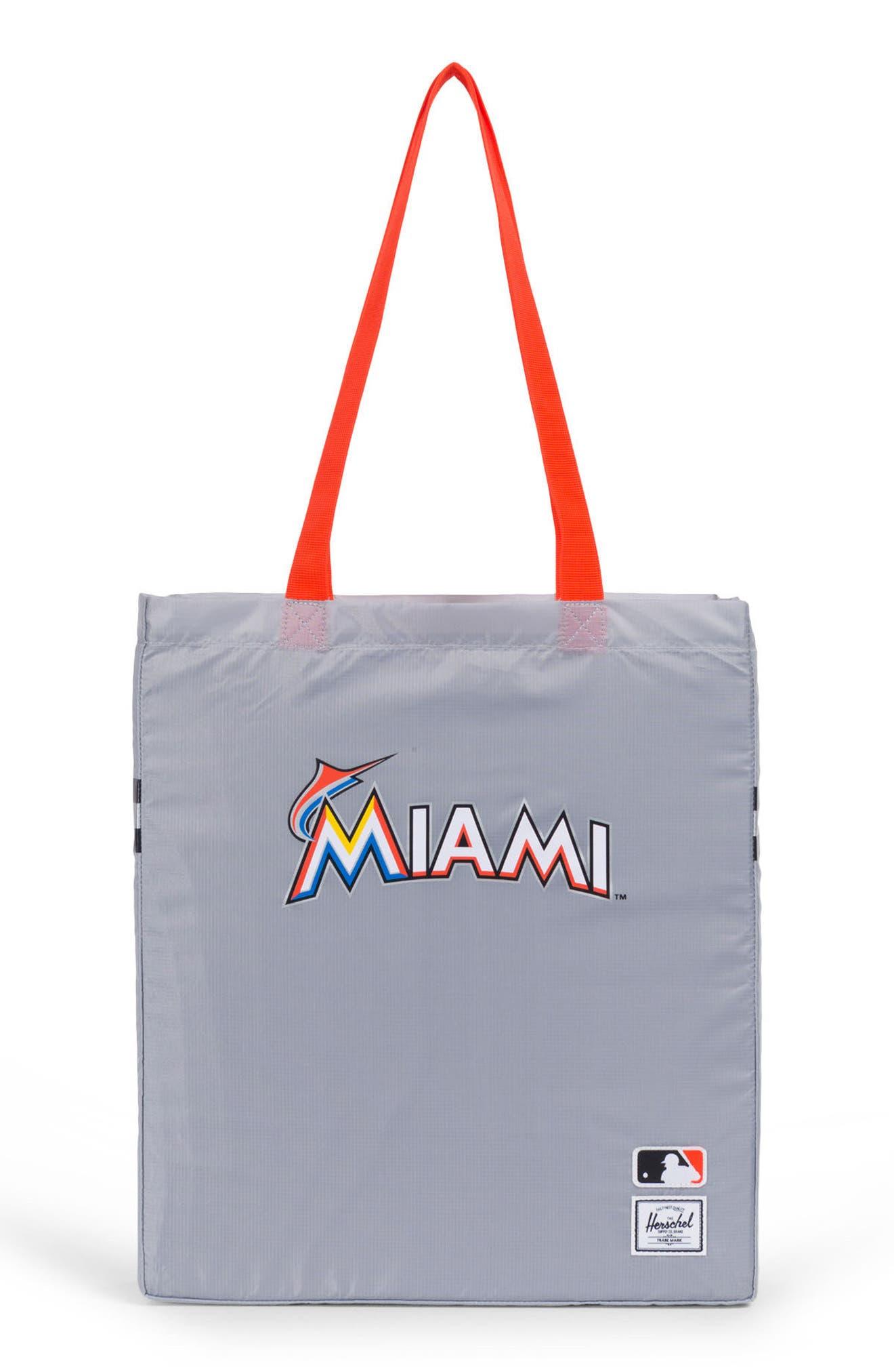 Packable - MLB National League Tote Bag, Main, color, MIAMI MARLINS