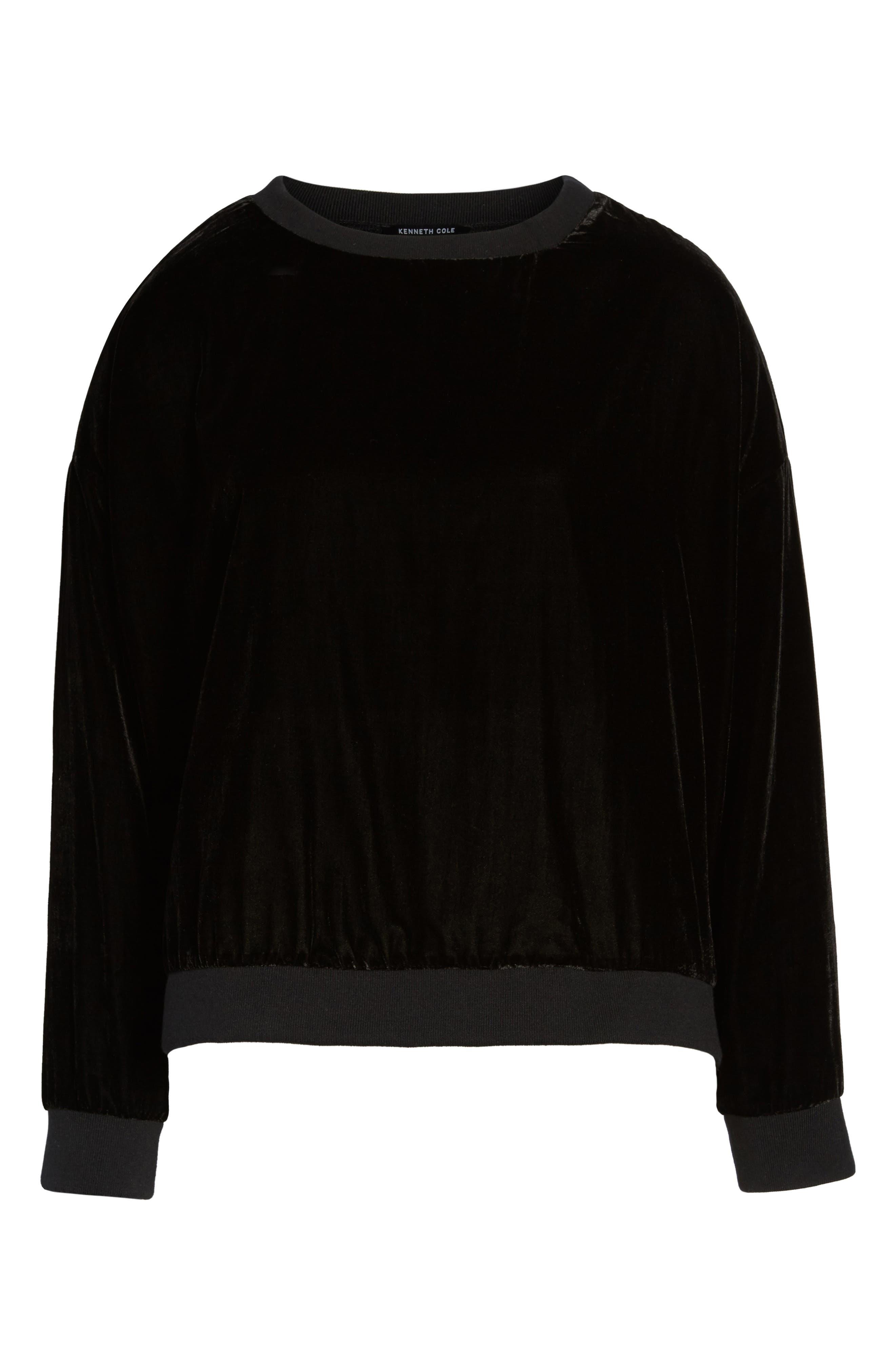 Zipper Velvet Sweatshirt,                             Alternate thumbnail 6, color,                             BLACK