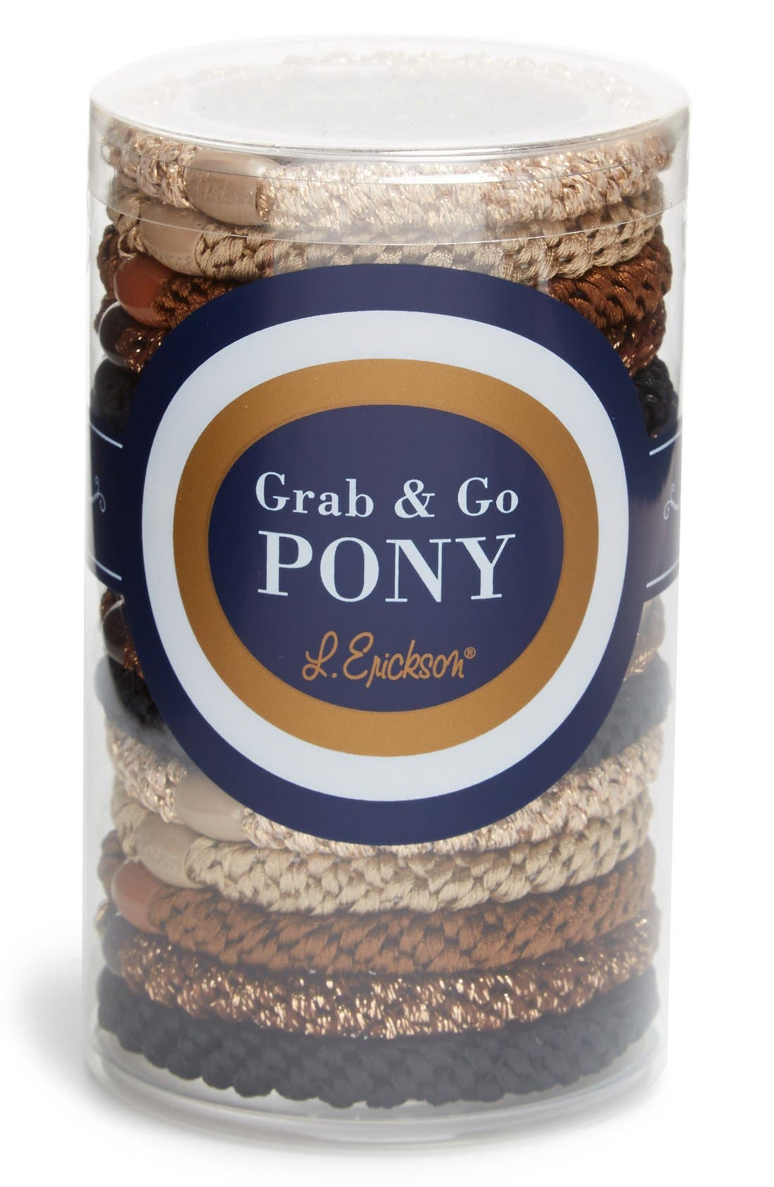 Grab & Go Set Of 15 Ponytail Holders in Neutral Metallic