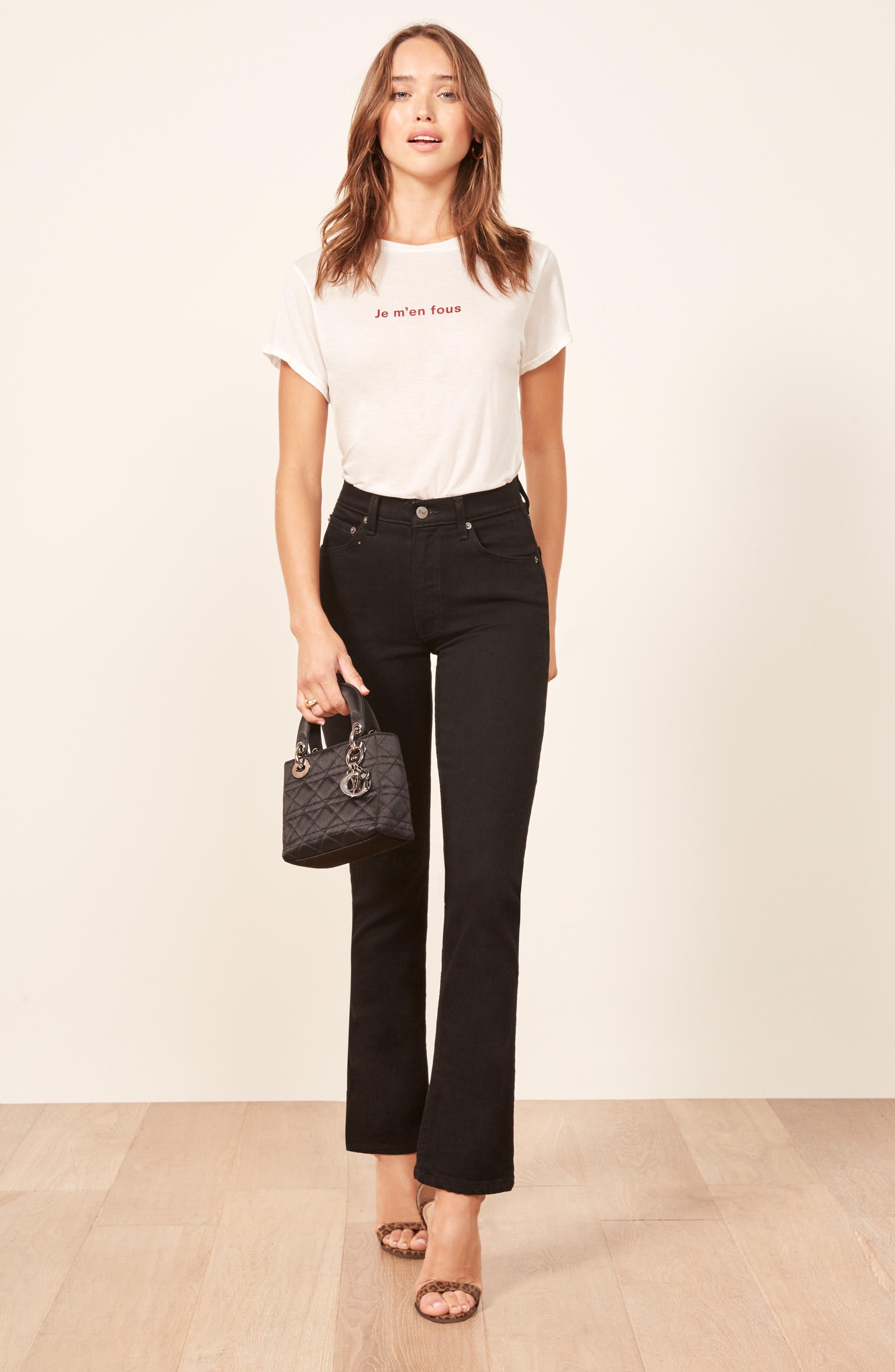 Liza High Waist Straight Leg Jeans,                             Alternate thumbnail 4, color,                             BLACK
