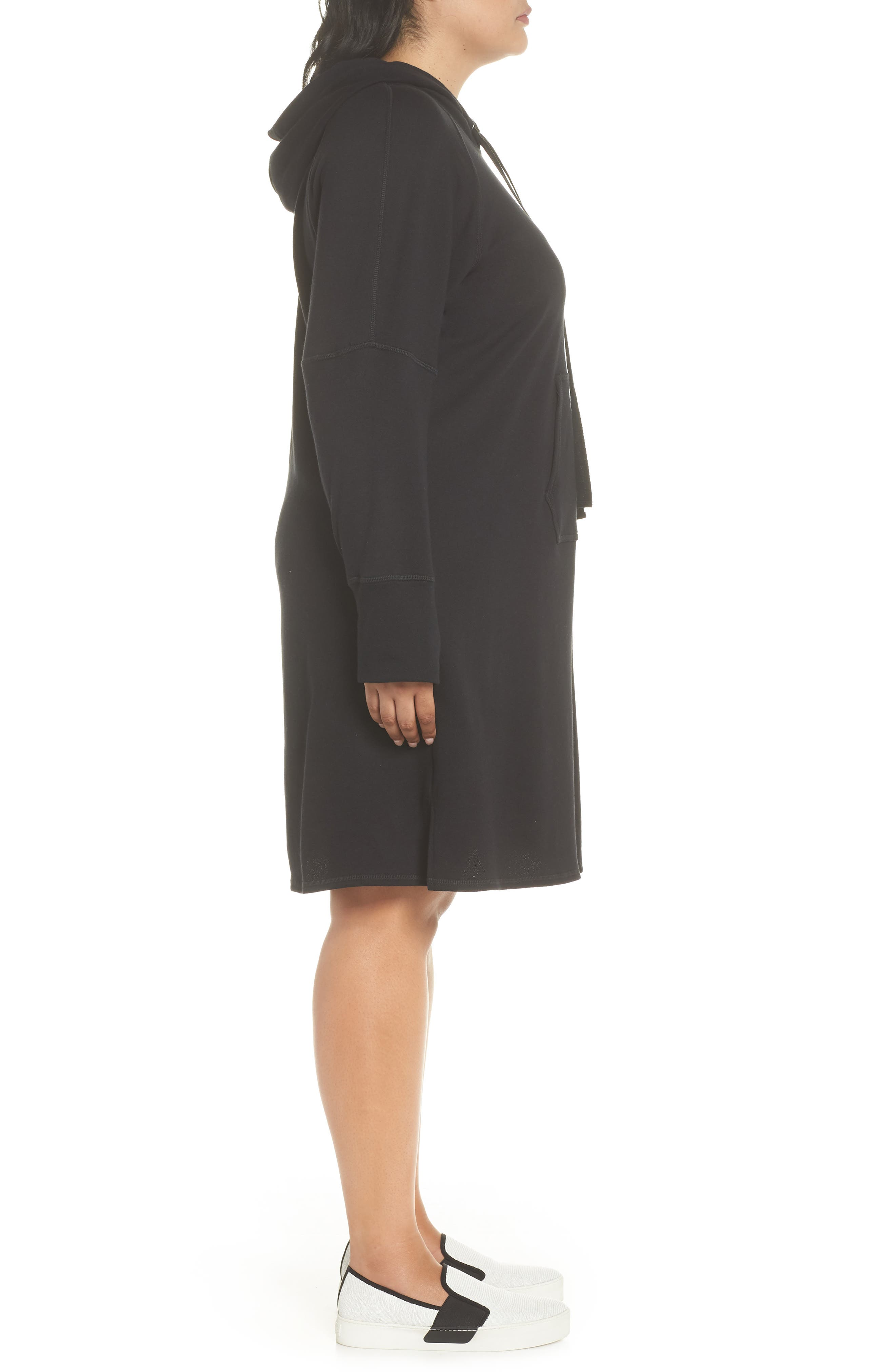 Hooded French Terry Dress,                             Alternate thumbnail 3, color,                             001
