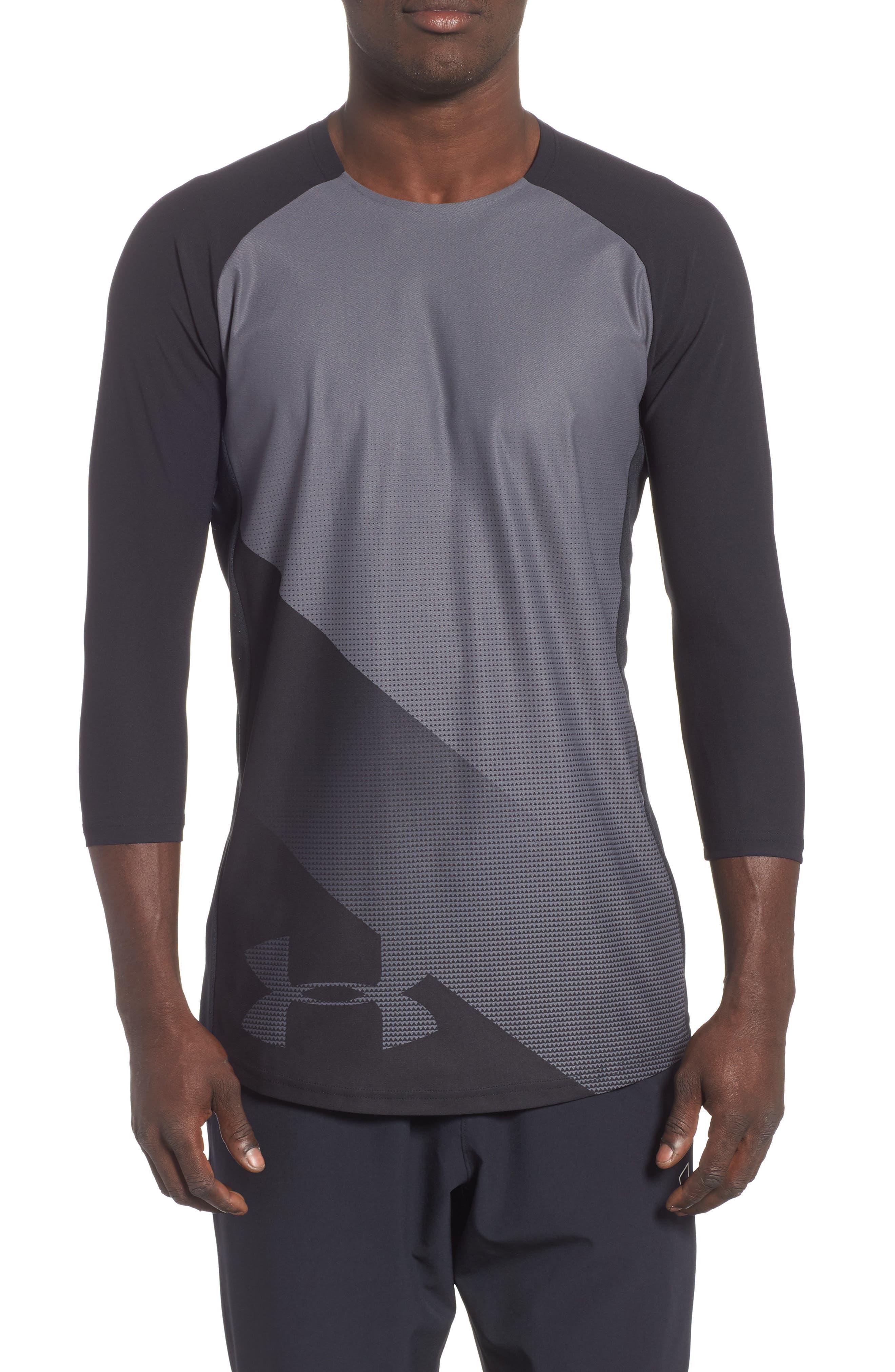 Three Quarter Sleeve Print Performance T-Shirt,                             Main thumbnail 1, color,                             BLACK