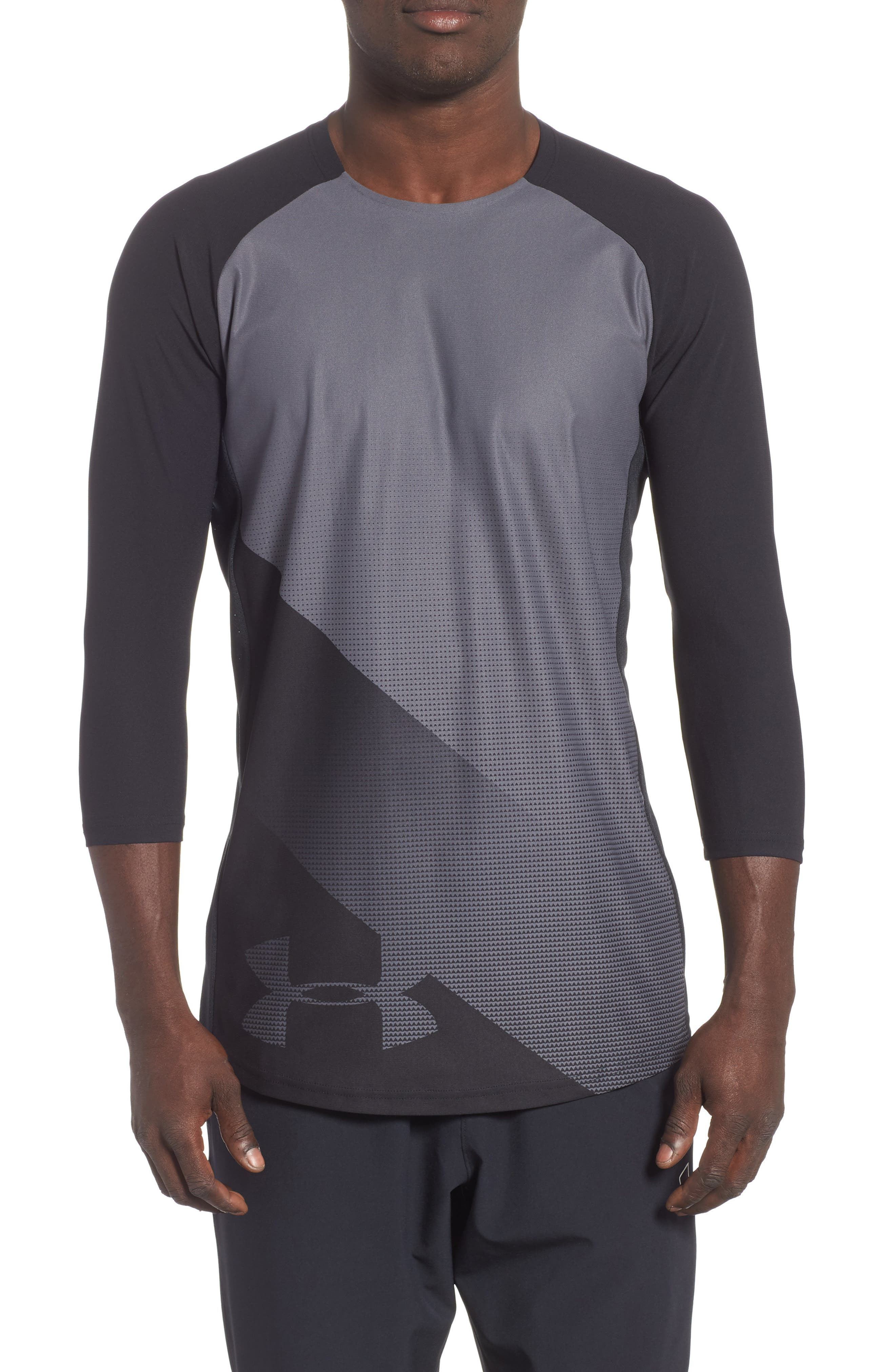 Three Quarter Sleeve Print Performance T-Shirt,                         Main,                         color, BLACK