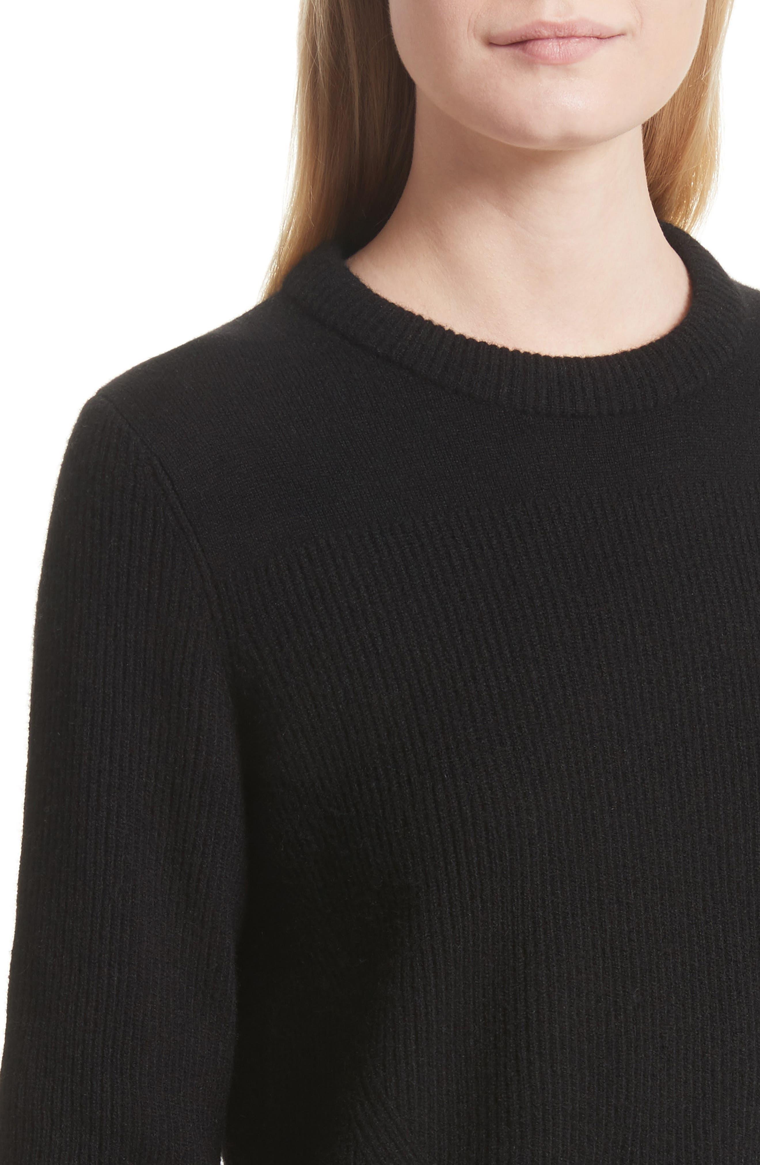 Ace Cashmere Crop Sweater,                             Alternate thumbnail 4, color,                             001
