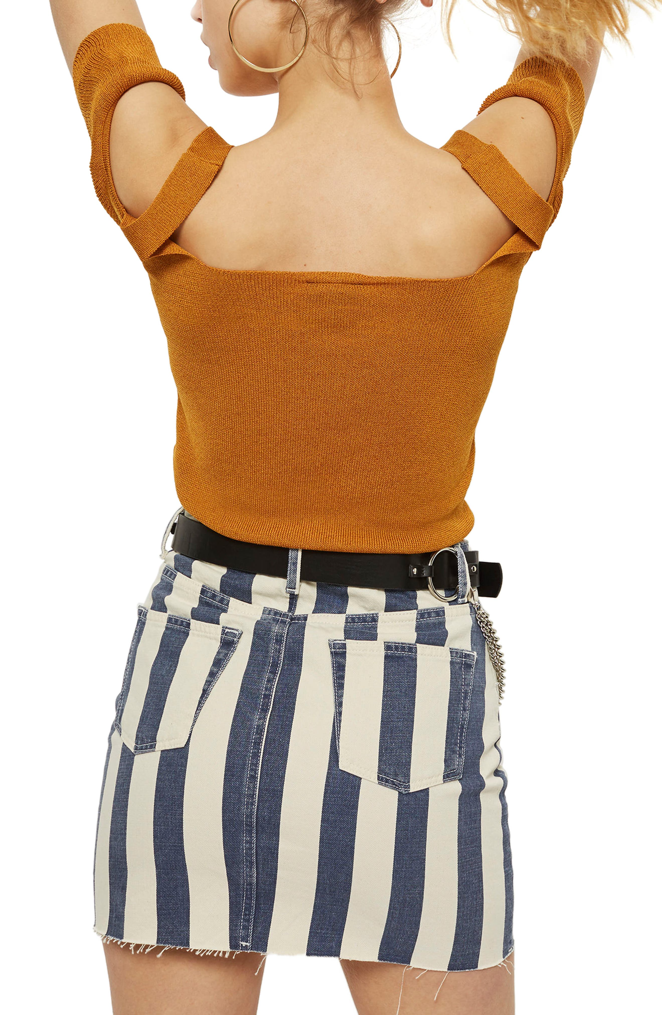 Ruffle Cold Shoulder Knit Top,                             Alternate thumbnail 6, color,