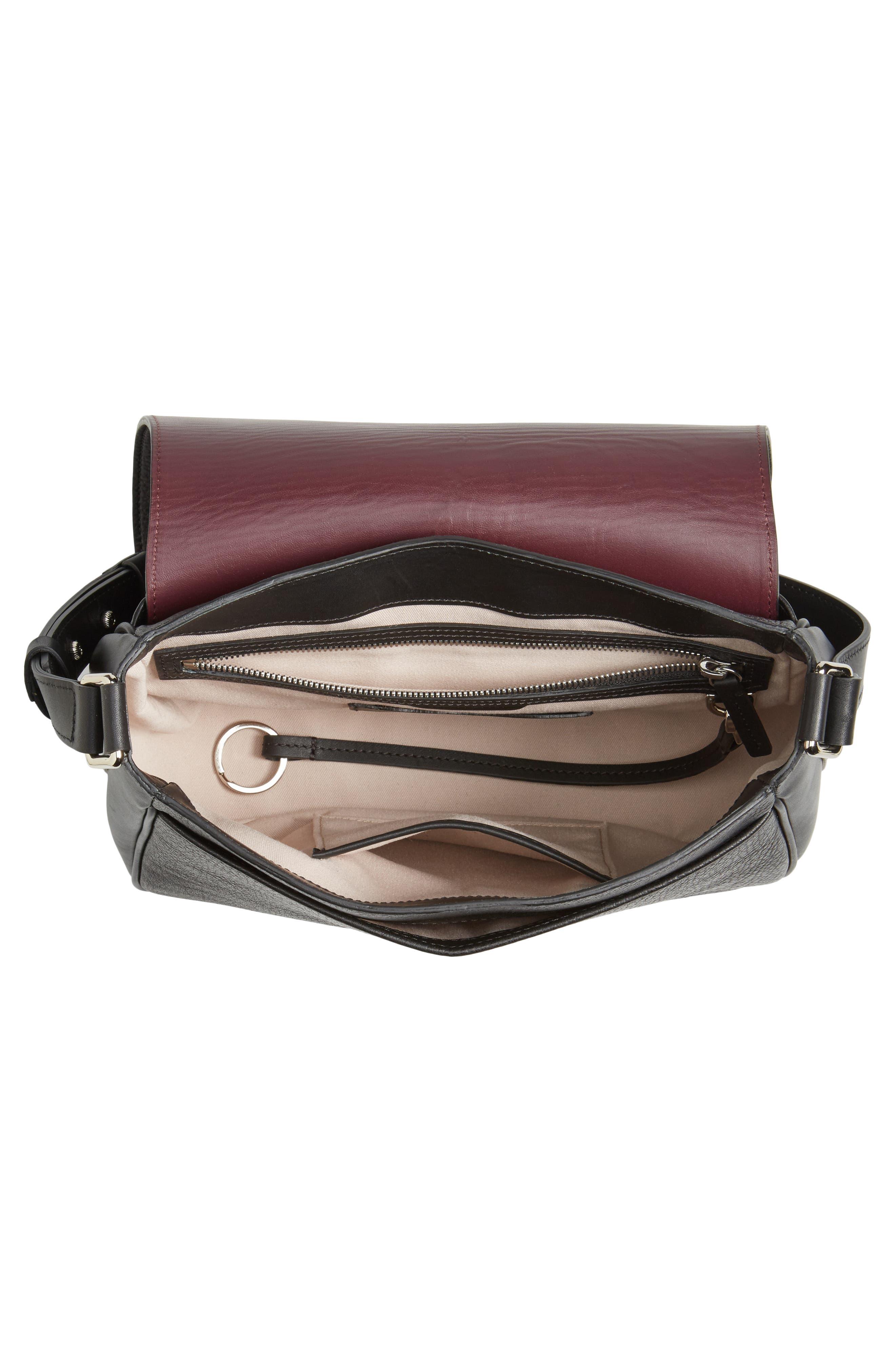 Calfskin Leather Shoulder Bag,                             Alternate thumbnail 4, color,                             001