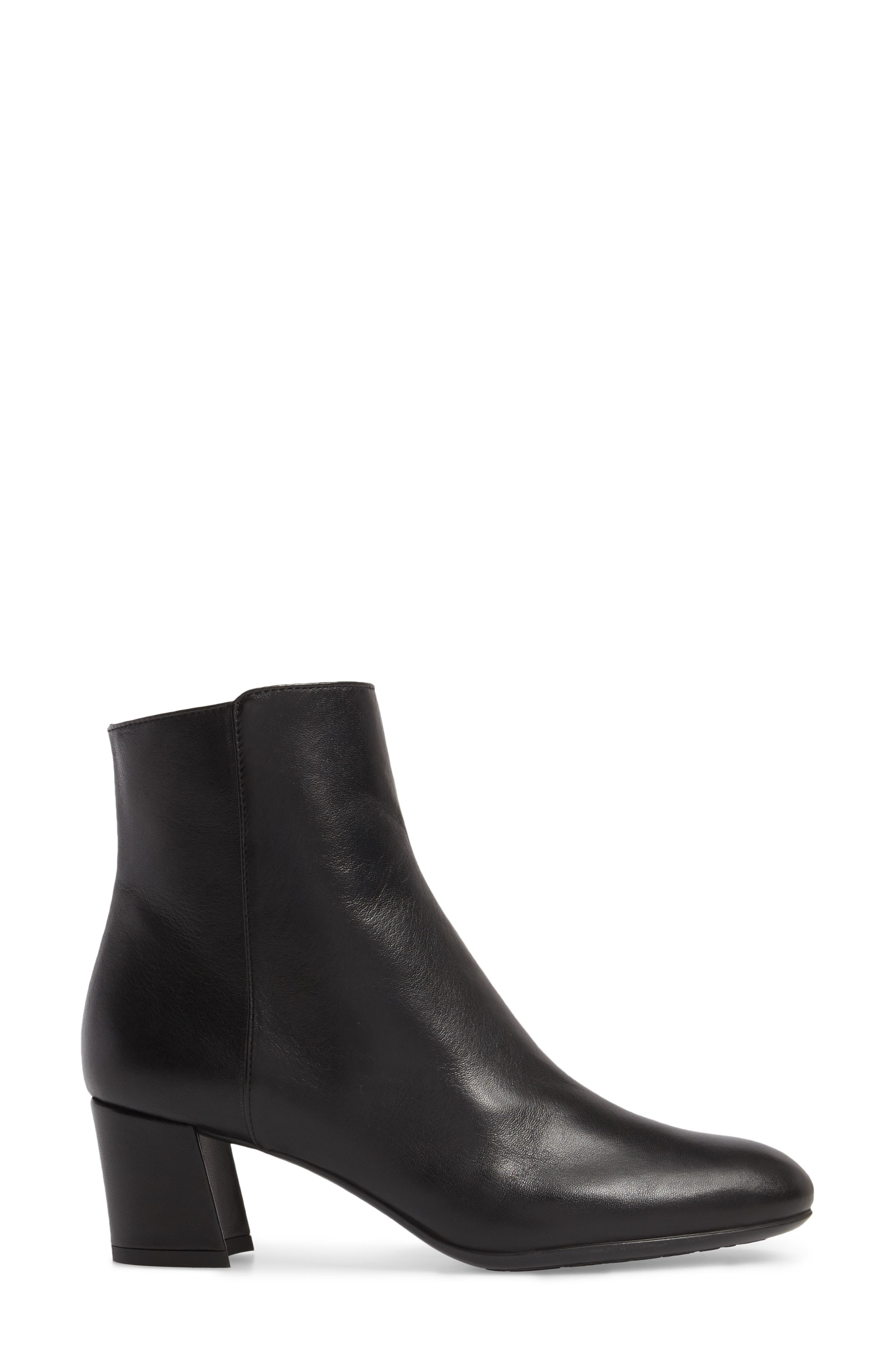 Block Heel Bootie,                             Alternate thumbnail 3, color,                             BLACK LEATHER