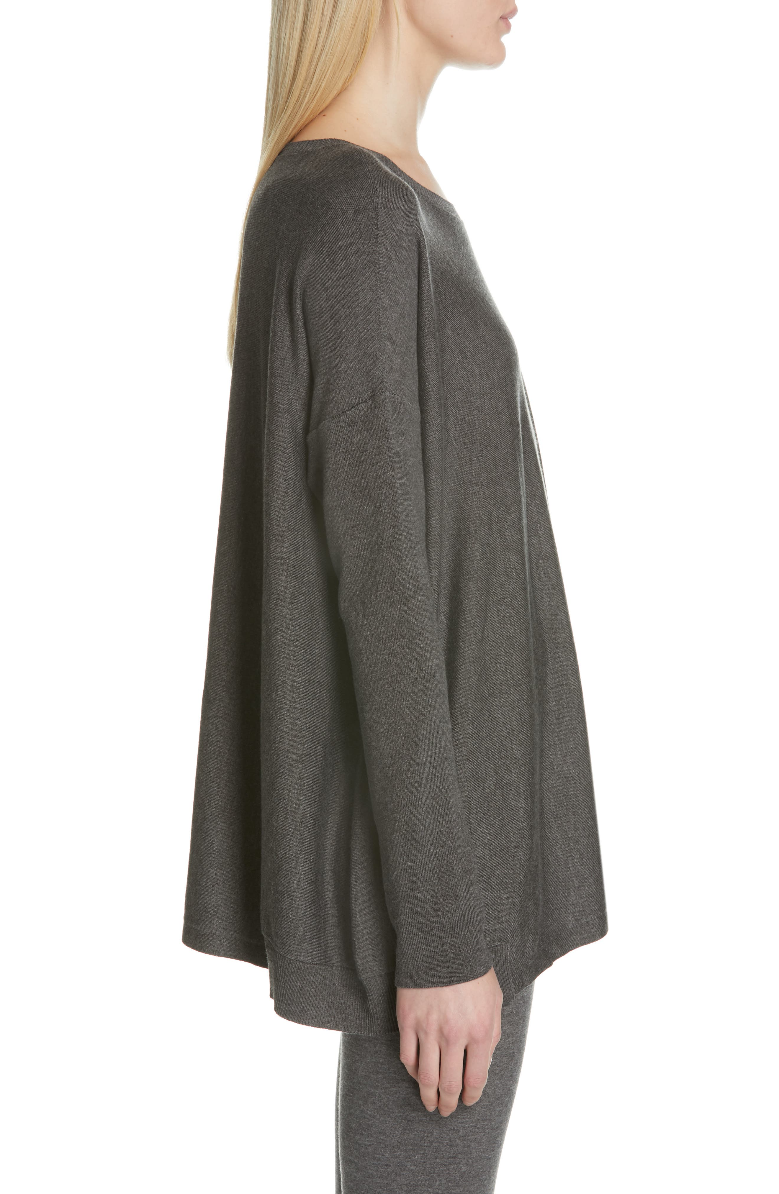 EILEEN FISHER, Tencel<sup>®</sup> Lyocell Blend Sweater, Alternate thumbnail 3, color, 030