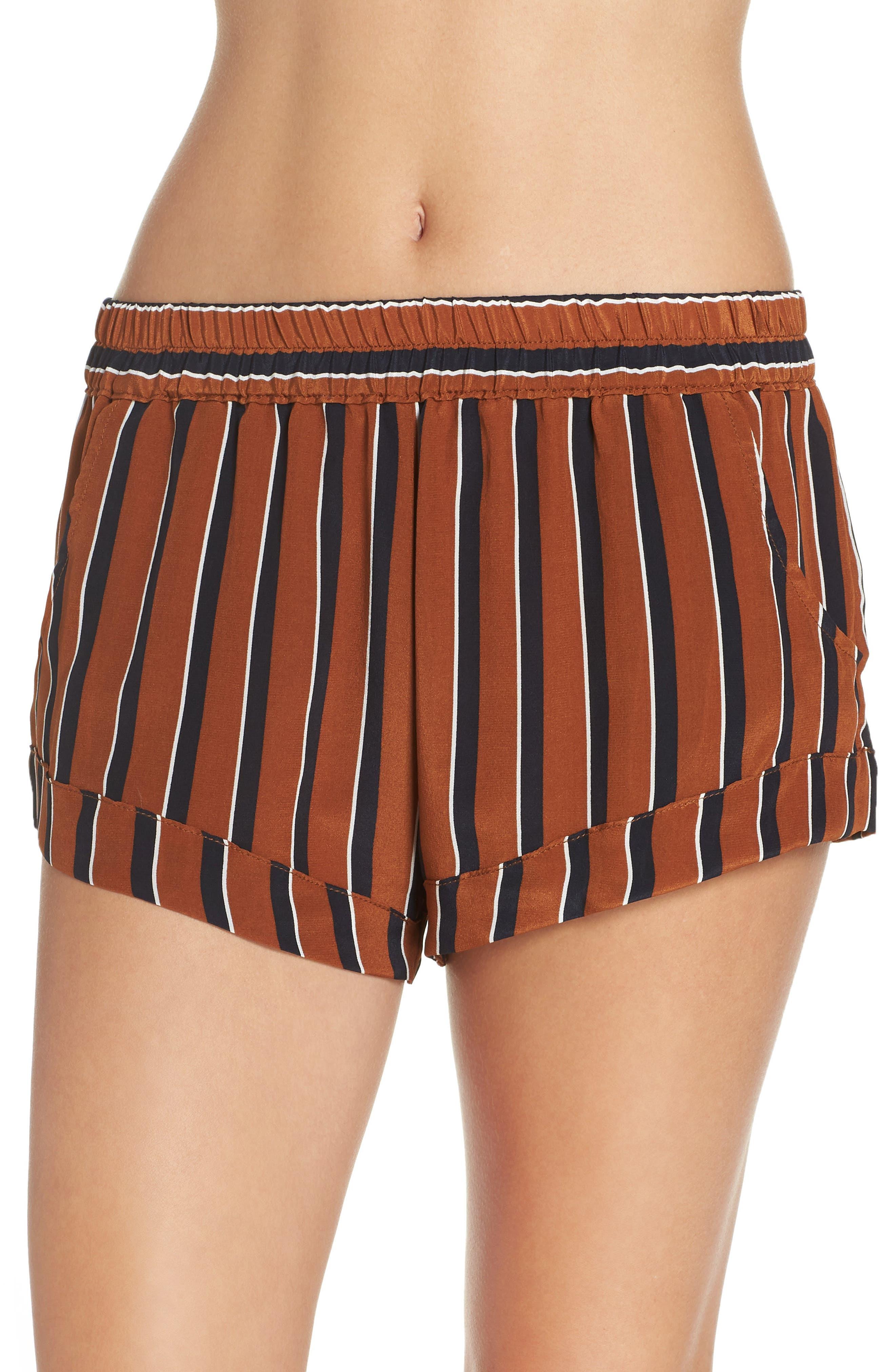 MAISON DU SOIR Mia Striped Silk Pajama Shorts in Tobacco Stripe