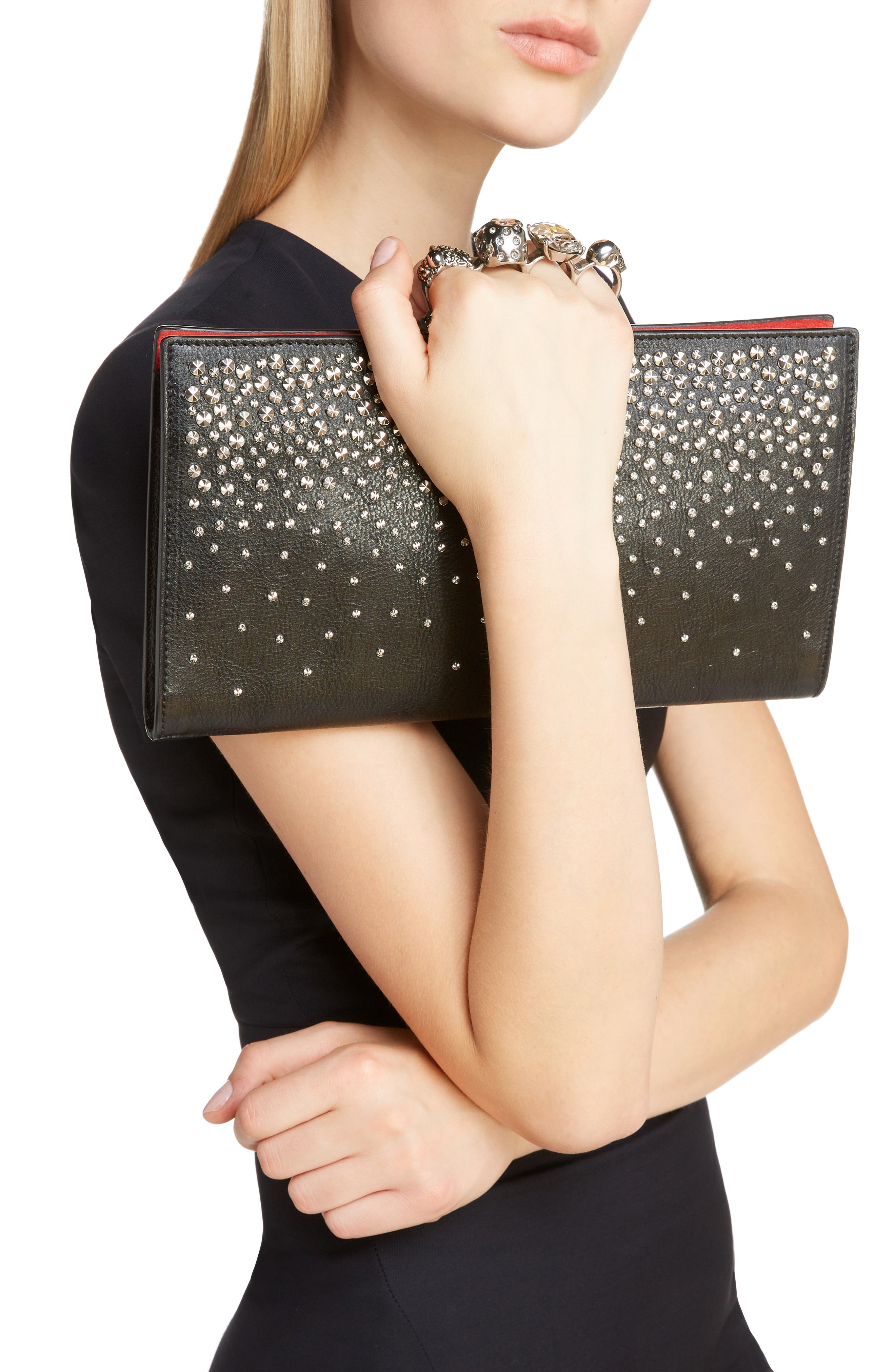 Four Ring Studded Knuckle Clasp Leather Clutch,                             Alternate thumbnail 2, color,                             BLACK