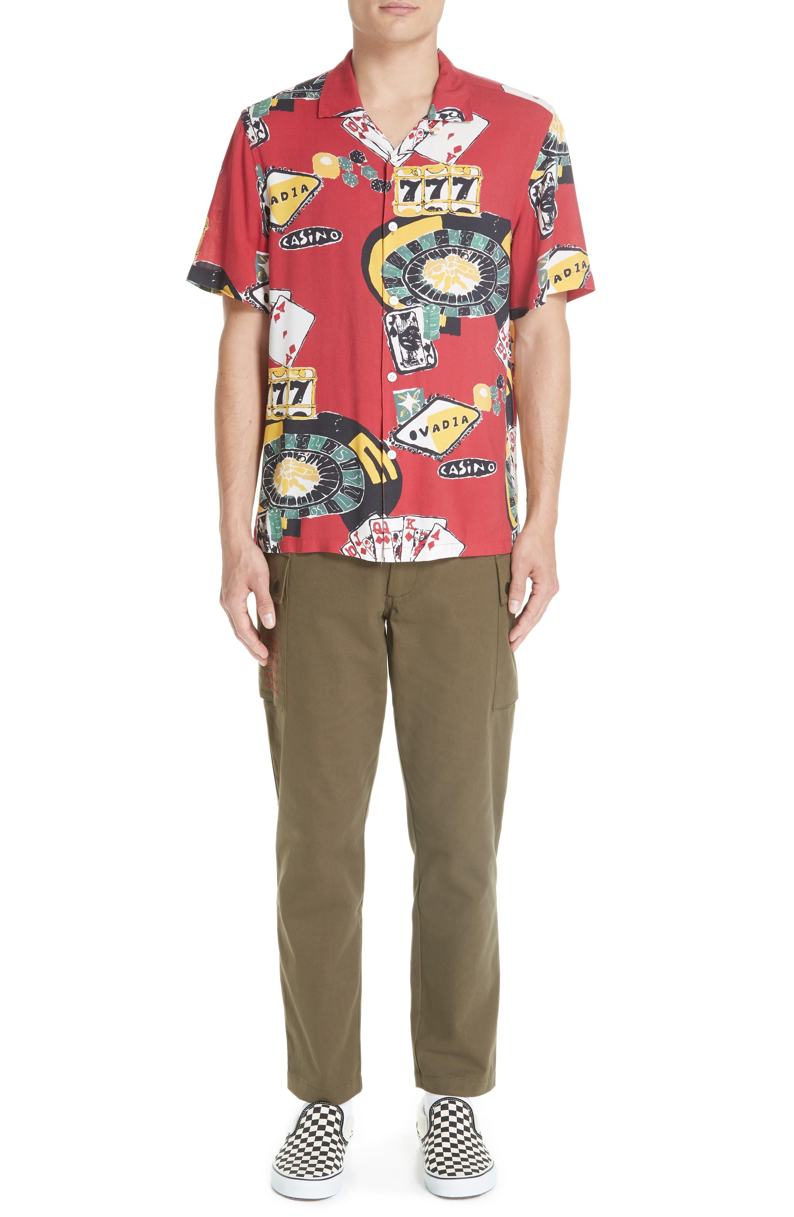 OVADIA & SONS,                             Casino Print Shirt,                             Alternate thumbnail 7, color,                             600