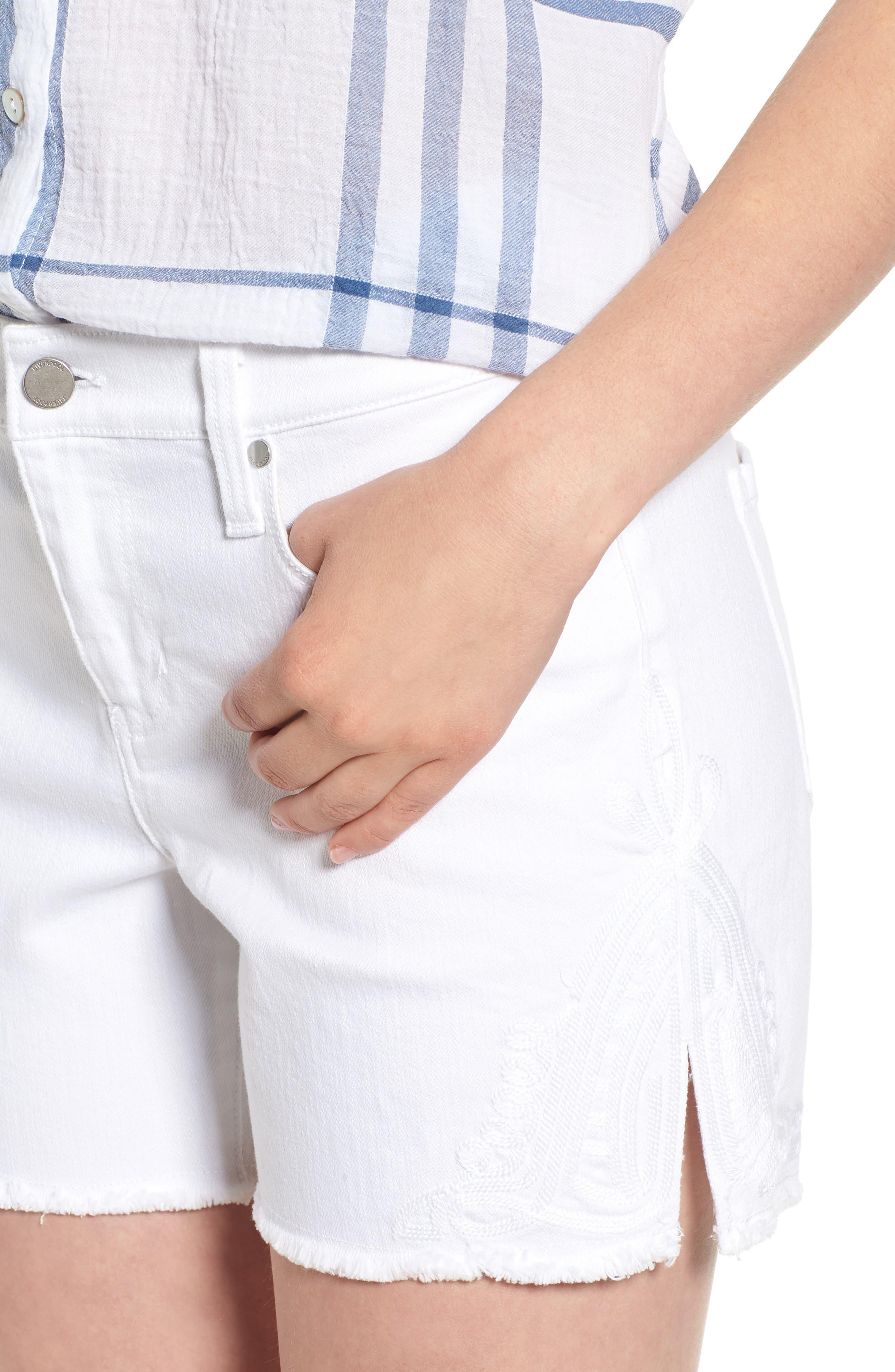Embroidered Side Slit Shorts,                             Alternate thumbnail 4, color,