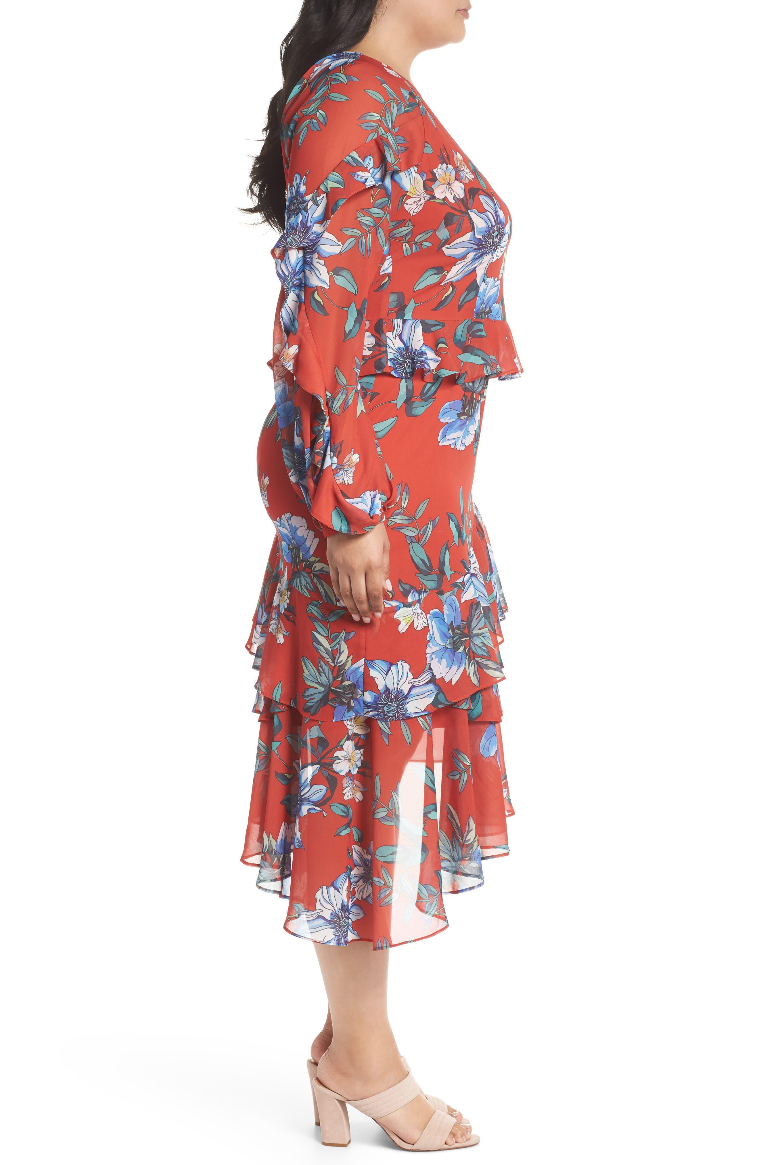 Floral Asymmetrical Dress,                             Alternate thumbnail 3, color,                             600