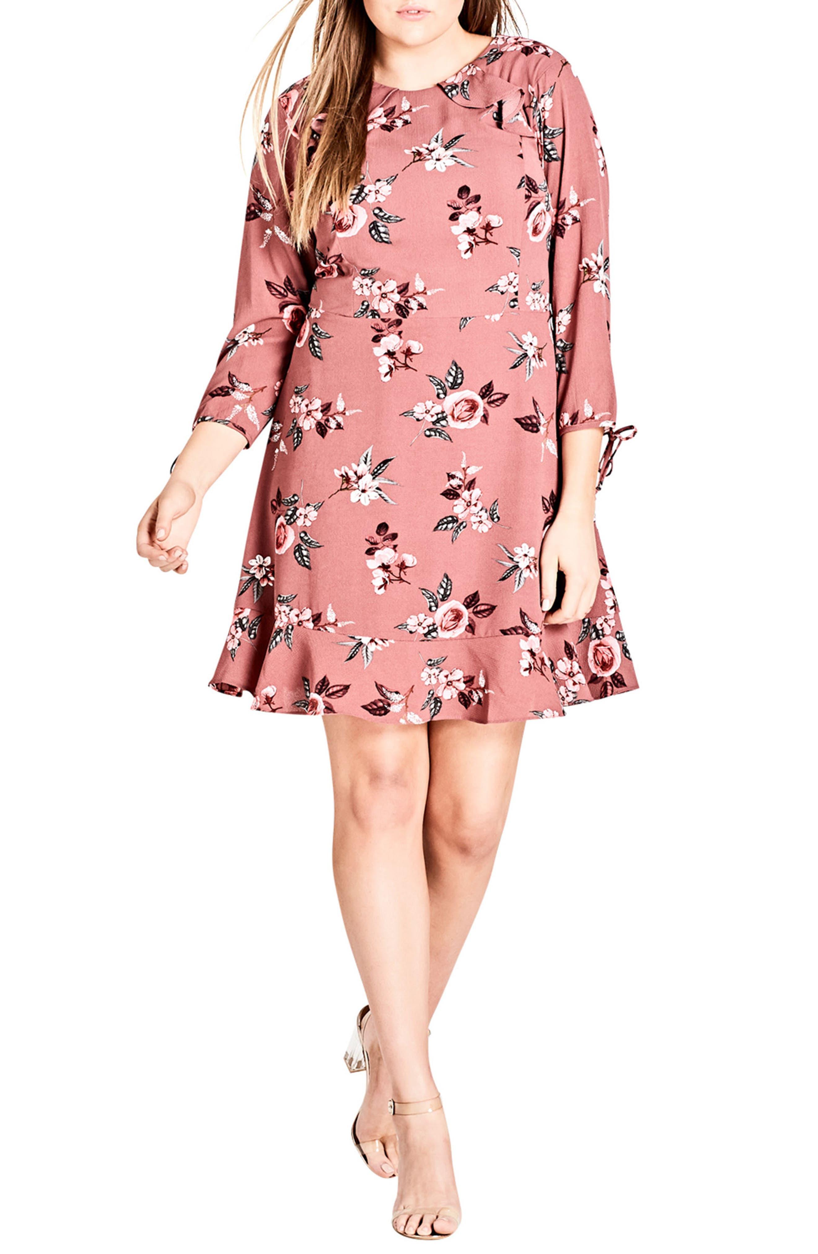 Floral Ruffle Trim Dress,                             Main thumbnail 1, color,                             SECRET FLORAL