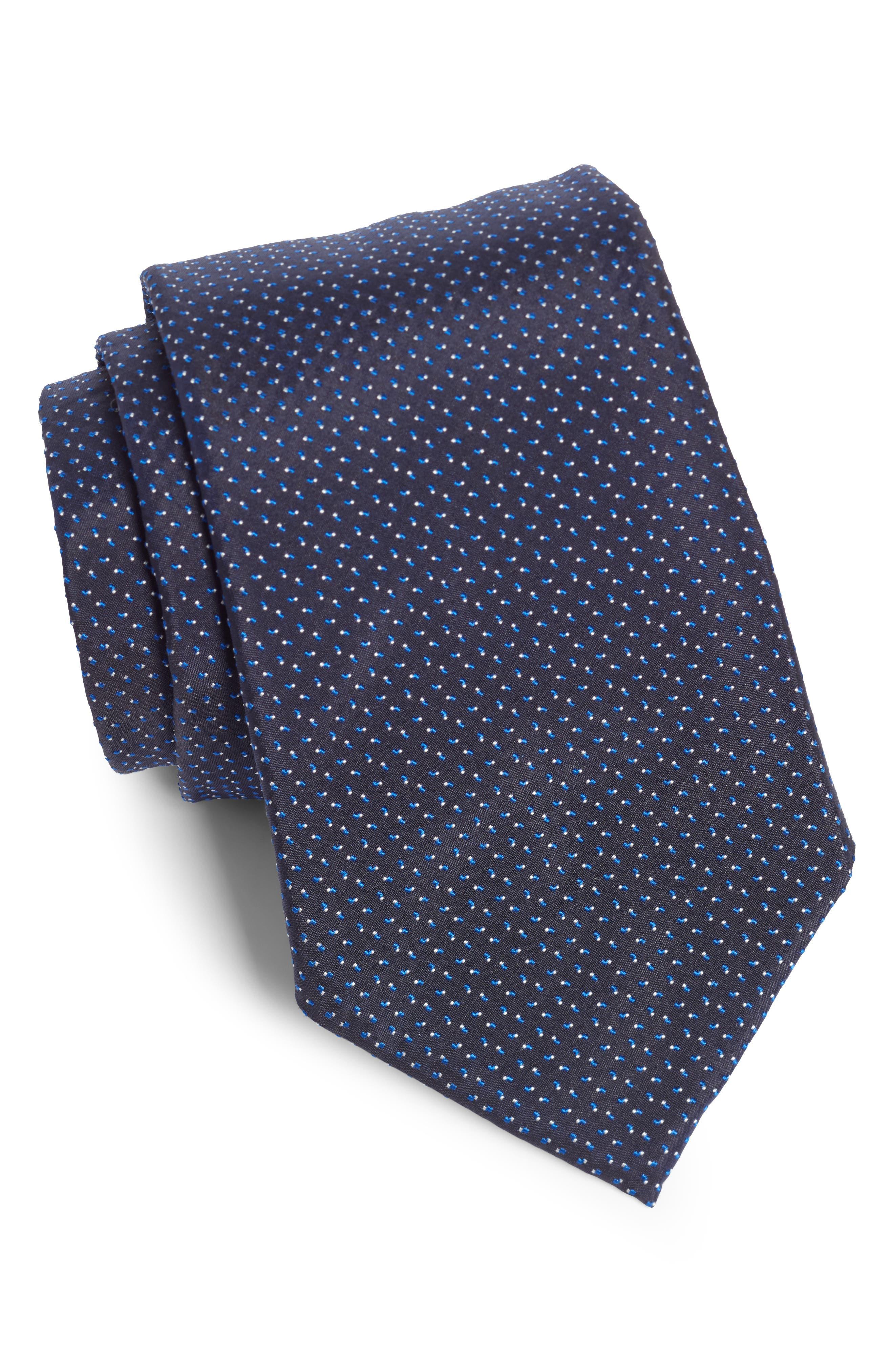 Dot Silk Tie,                         Main,                         color, OPEN BLUE