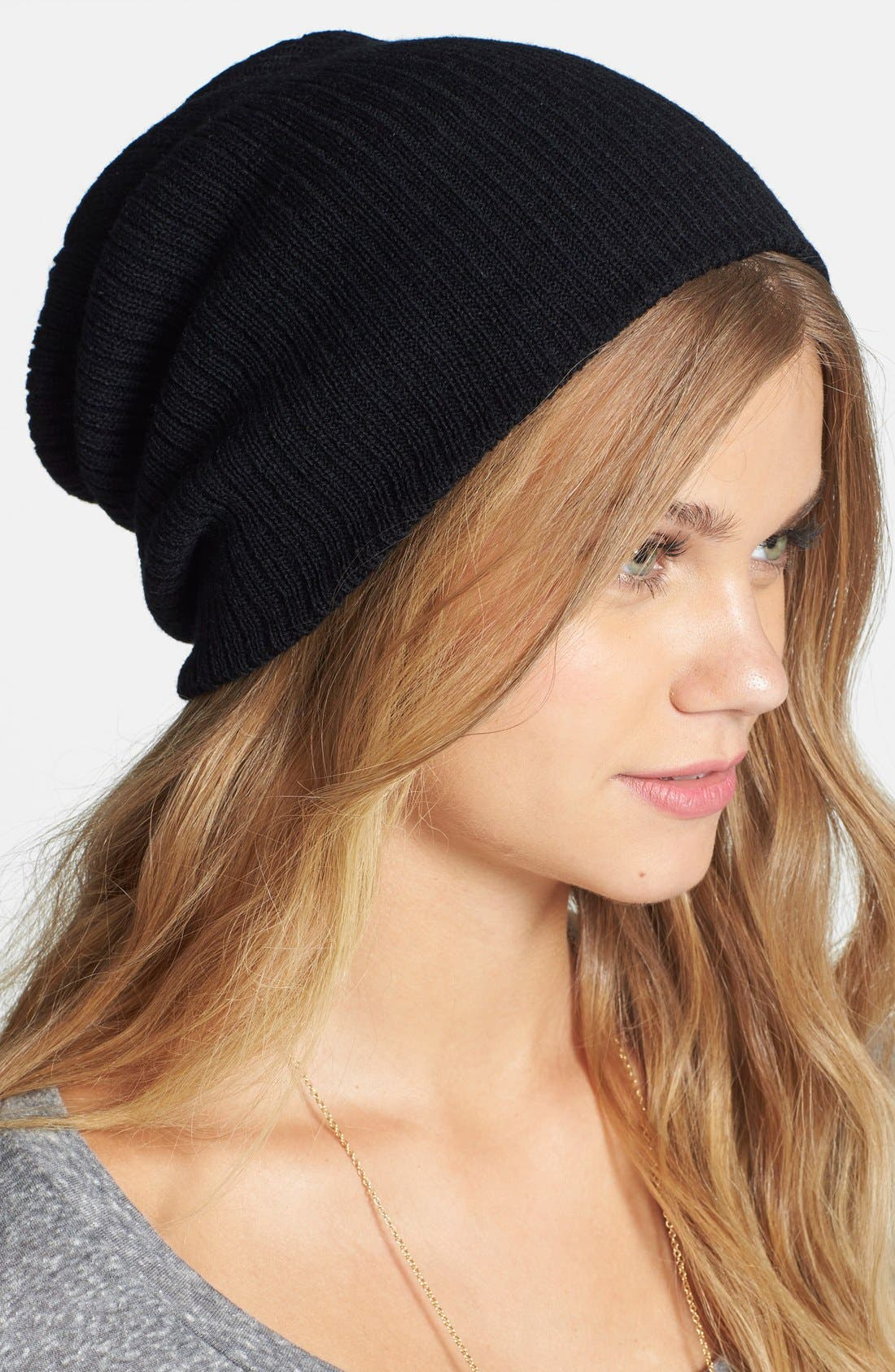 Slouchy Ribbed Beanie,                             Main thumbnail 1, color,                             001
