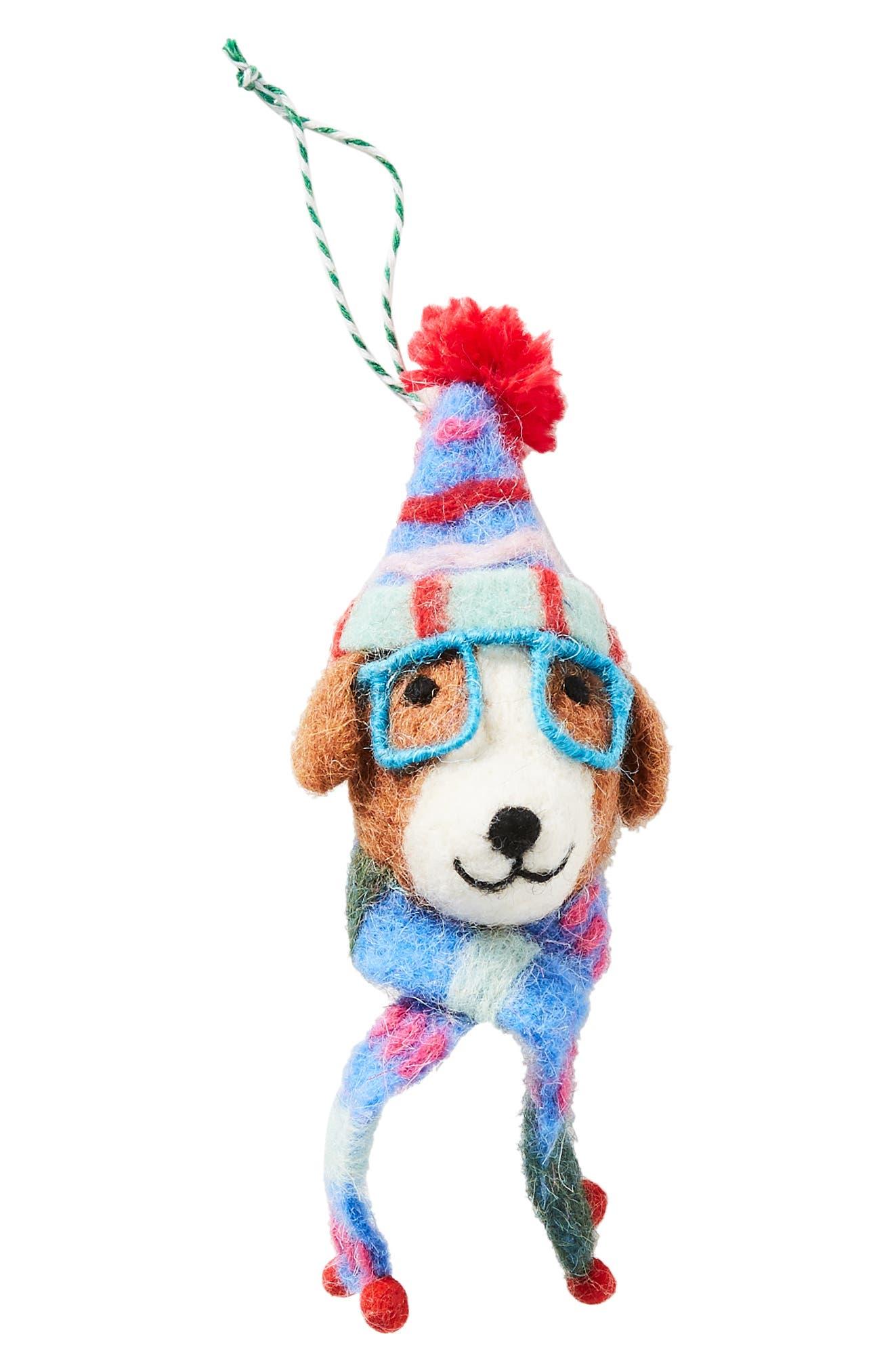 ANTHROPOLOGIE,                             Decked Out Dog Felt Ornament,                             Alternate thumbnail 3, color,                             200