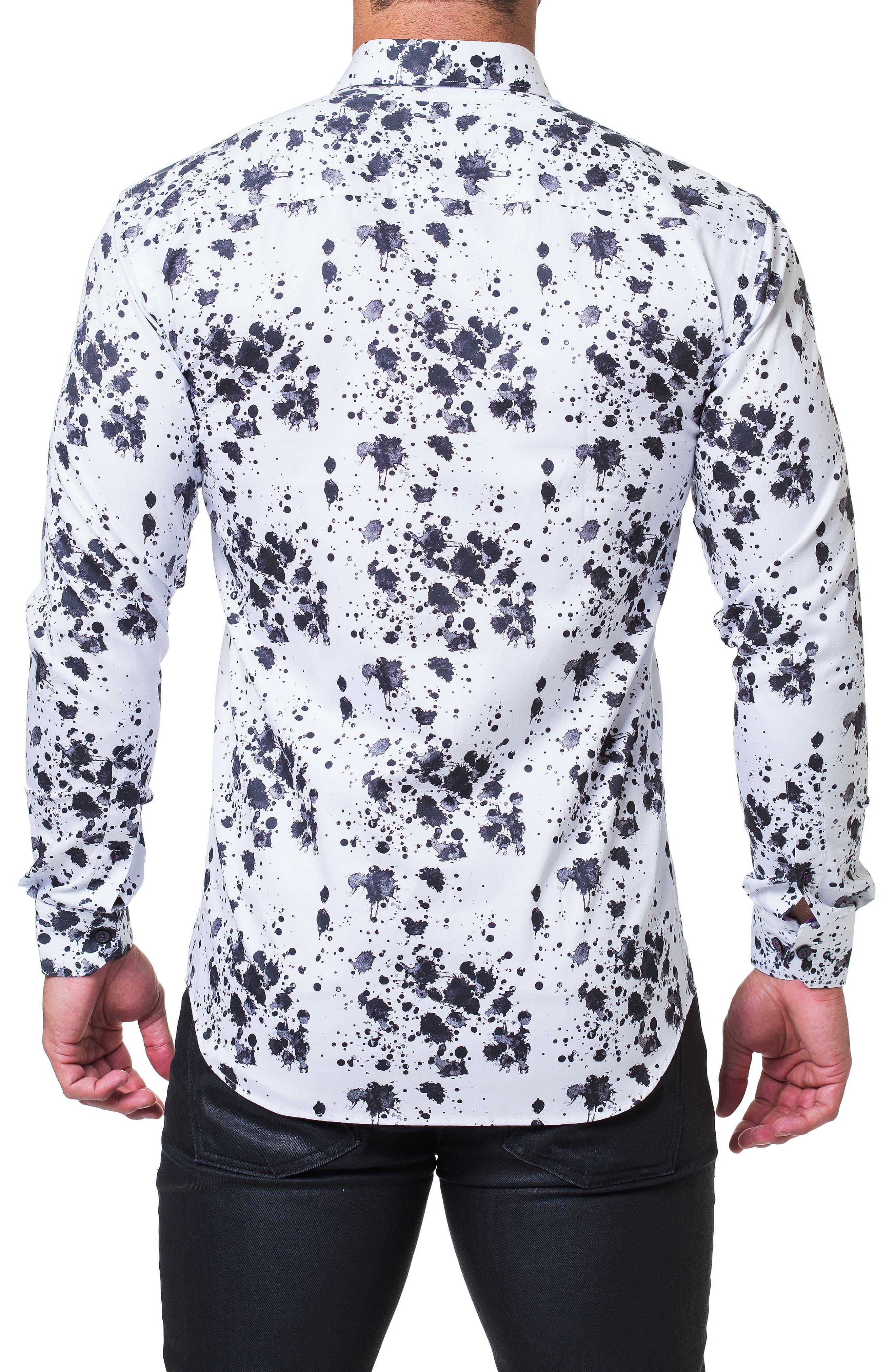 Fibonacci Splash Print Sport Shirt,                             Alternate thumbnail 2, color,                             BLACK