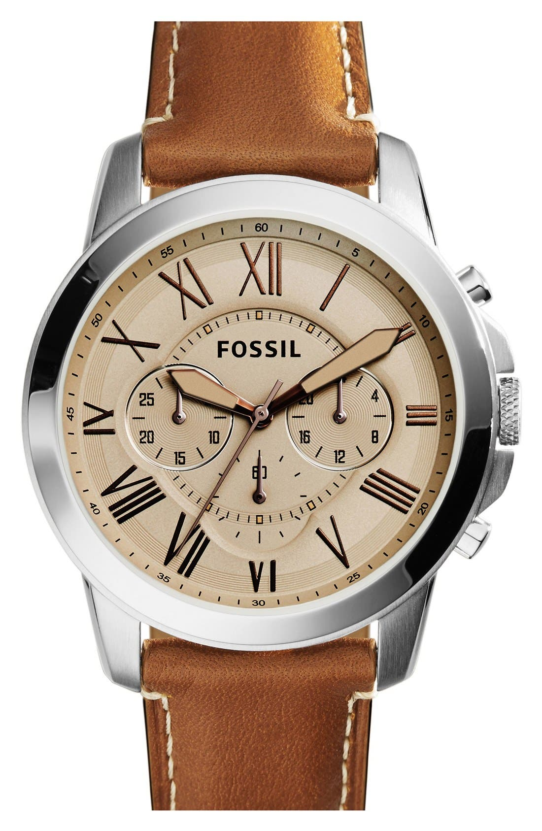 'Grant' Chronograph Leather Strap Watch, 45mm,                             Main thumbnail 4, color,