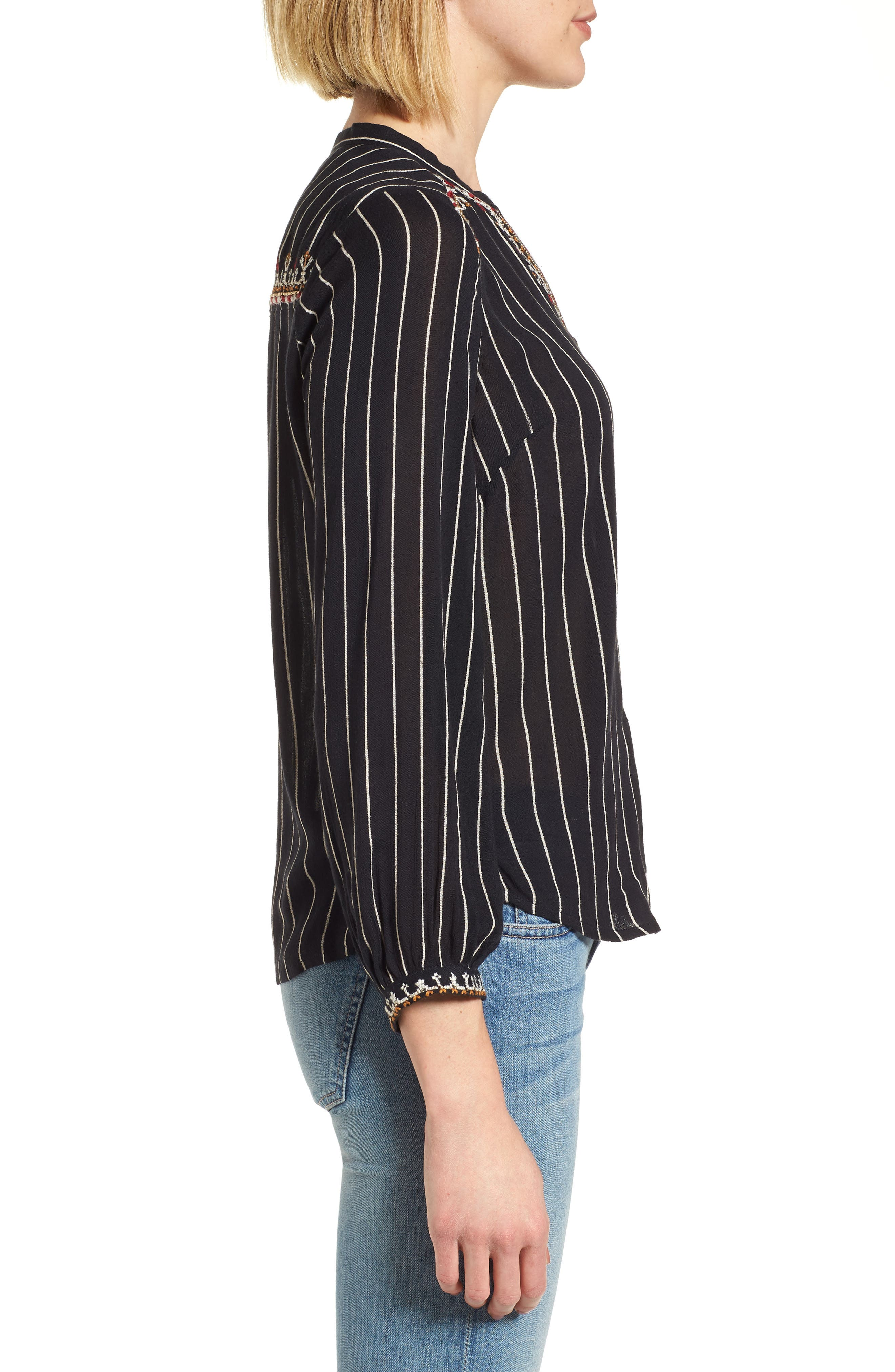 VELVET BY GRAHAM & SPENCER,                             Embroidered Top,                             Alternate thumbnail 3, color,                             STRIPE