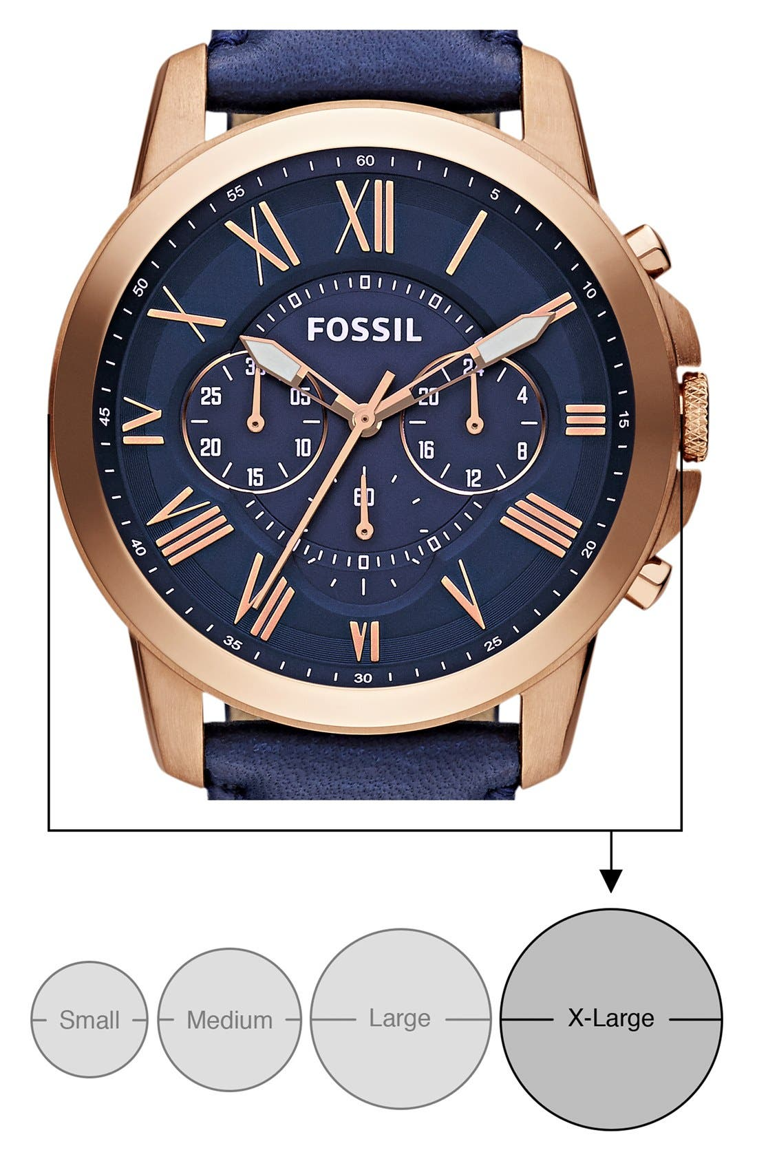 'Grant' Round Chronograph Leather Strap Watch, 44mm,                             Alternate thumbnail 5, color,                             NAVY/ ROSE GOLD
