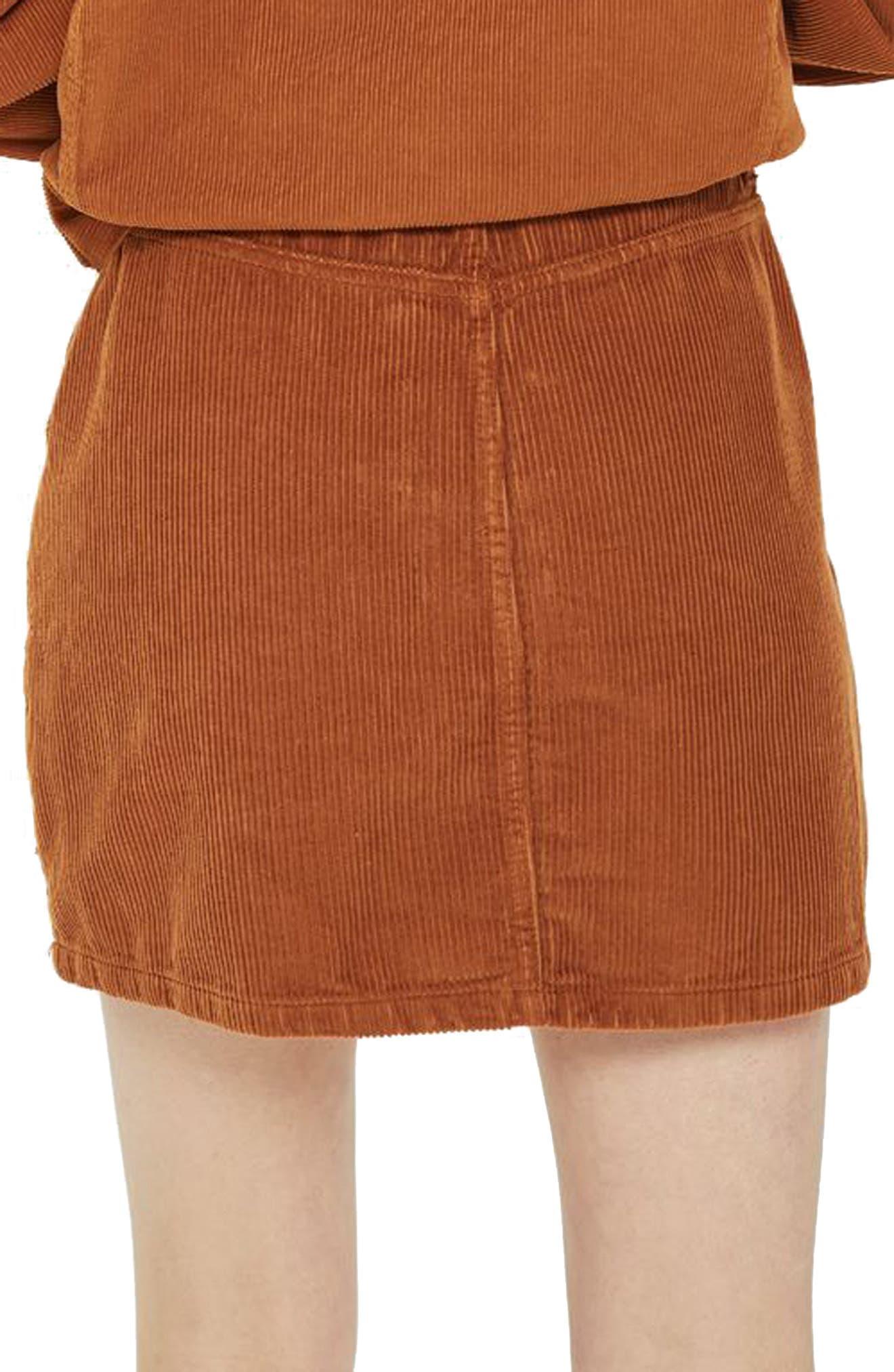 Cord Miniskirt,                             Alternate thumbnail 2, color,                             TOBACCO