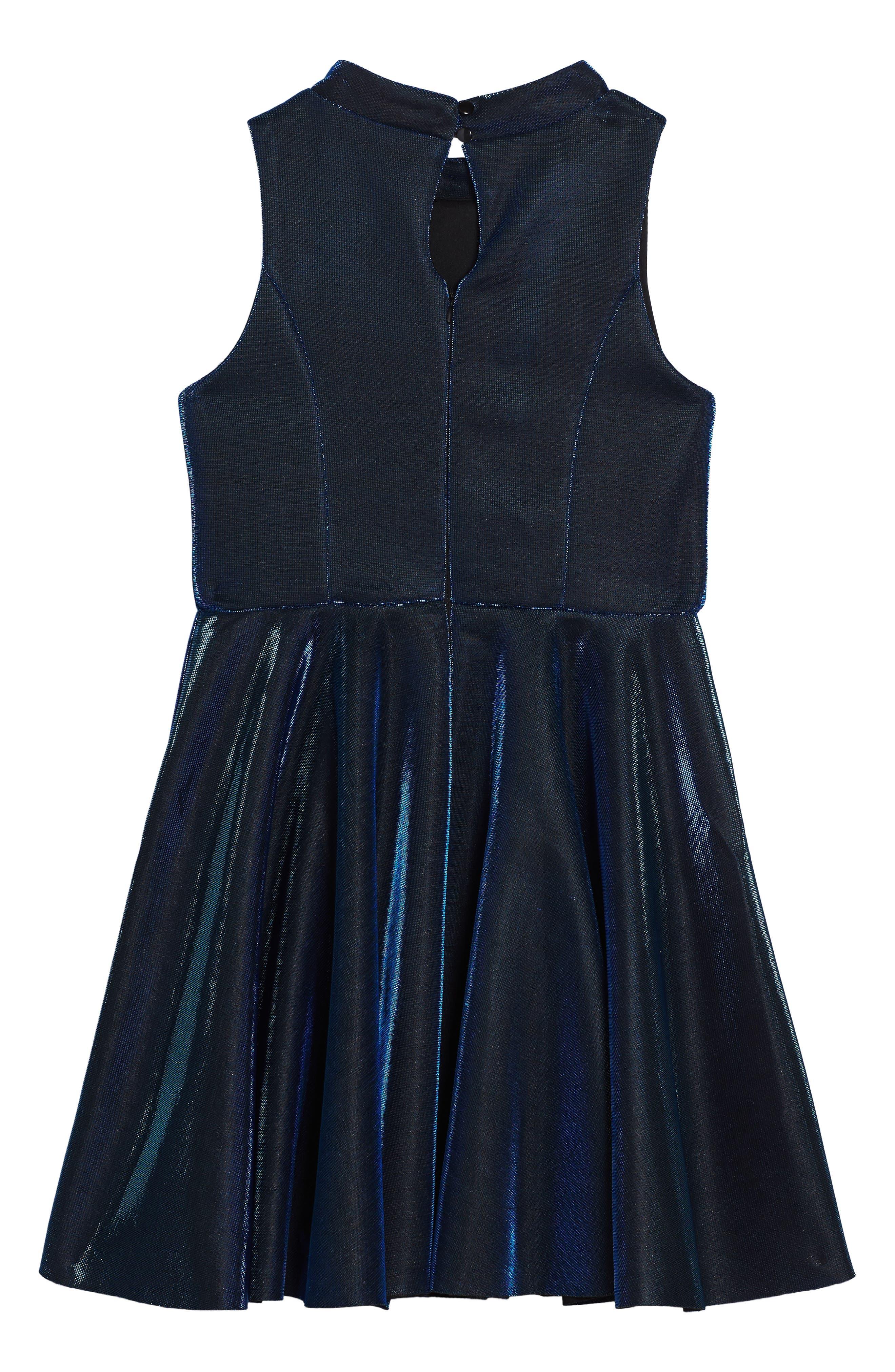 Iridescent Techno Skater Dress,                             Alternate thumbnail 2, color,                             420