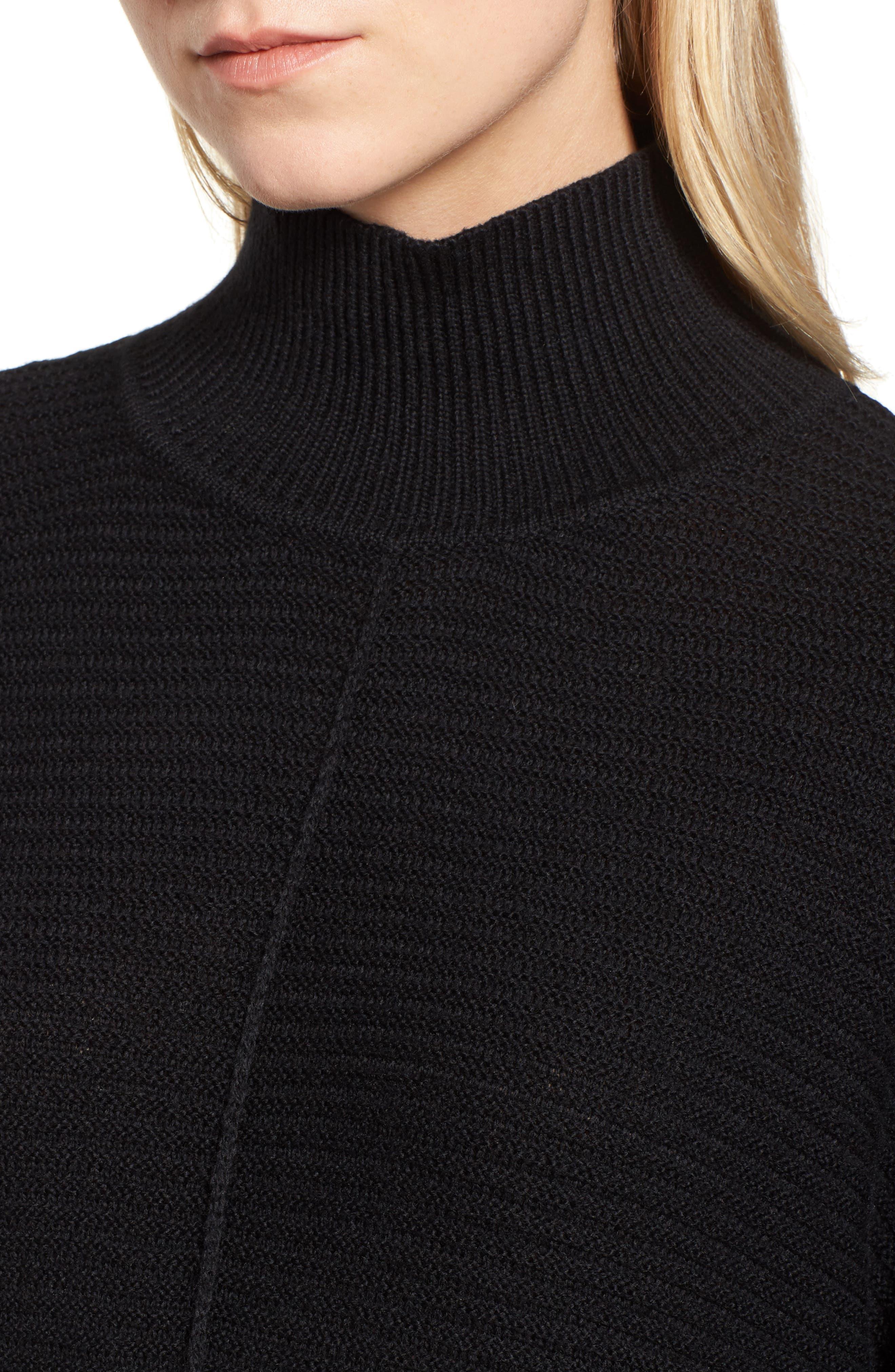 Ribbed Turtleneck Tunic Sweater,                             Alternate thumbnail 4, color,                             BLACK