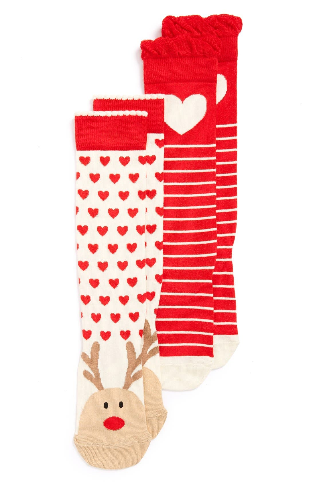 'Rudolph the Red Nosed Reindeer & Hearts' Knee High Socks,                             Alternate thumbnail 3, color,                             100
