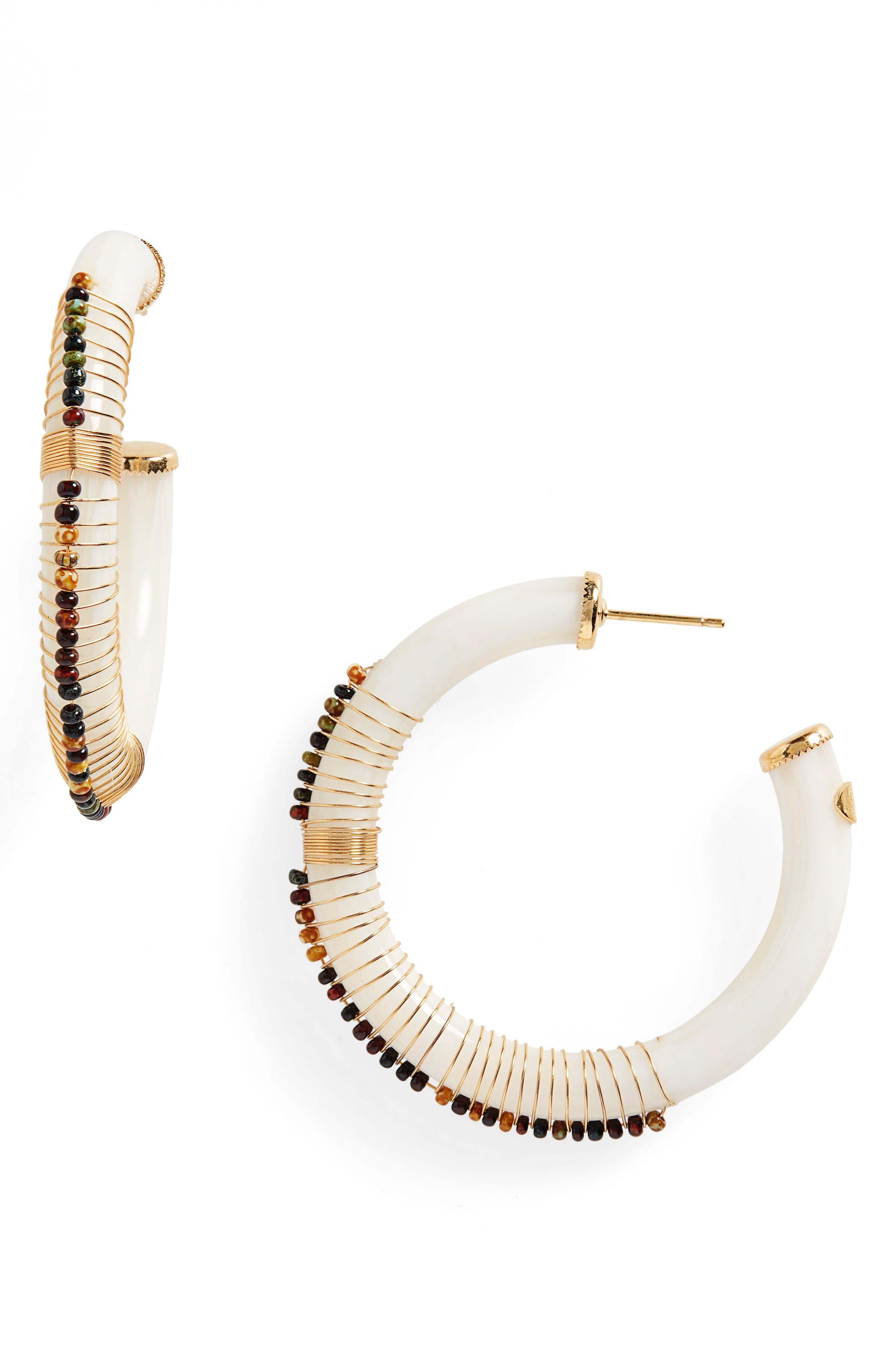 GAS BIJOUX Caliste Hoop Earrings in White