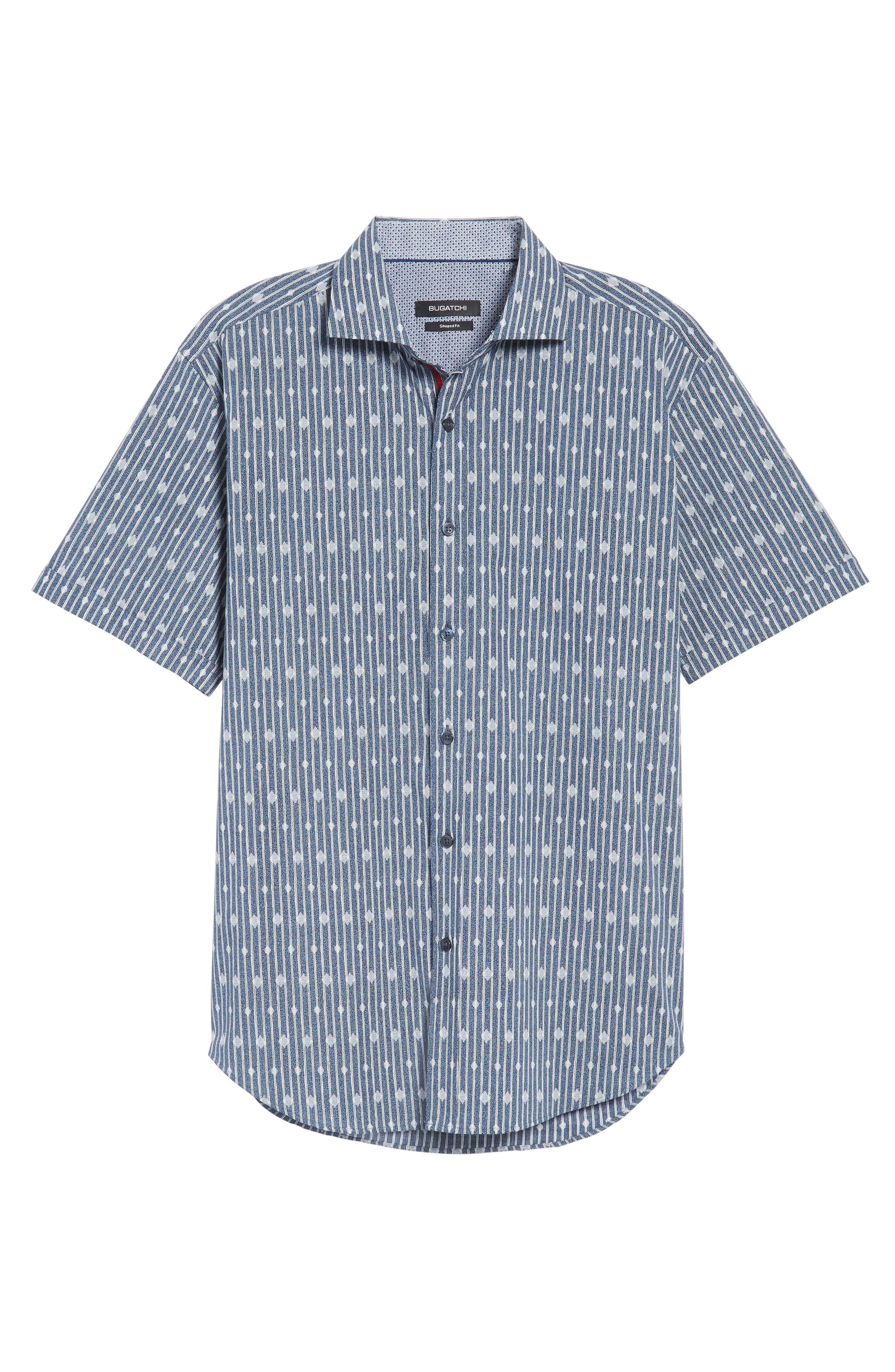 Shaped Fit Diamond Stripe Print Sport Shirt,                             Alternate thumbnail 6, color,                             423